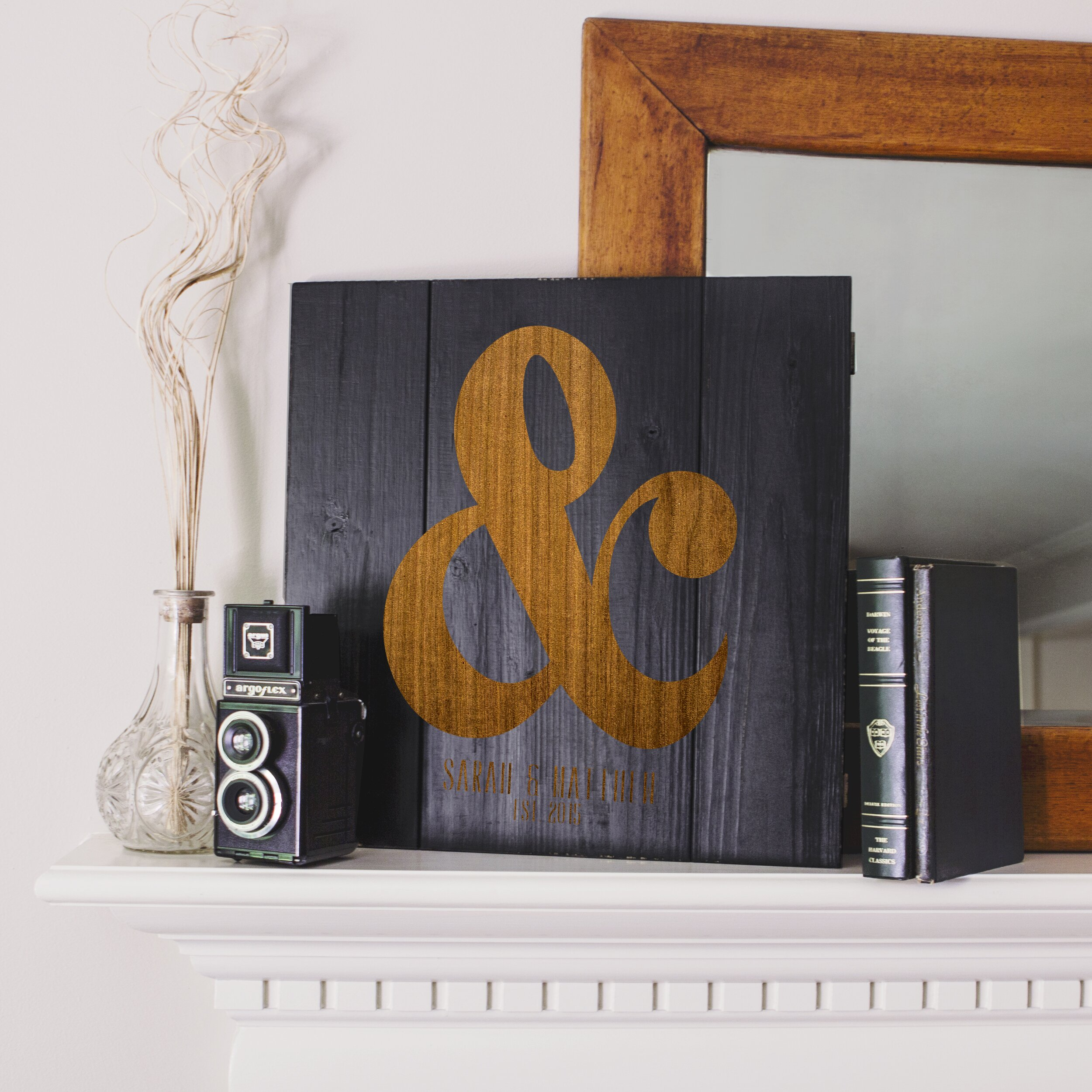 Rustic Monogram Wall Decor : Cathys concepts personalized rustic ampersand wooden wall