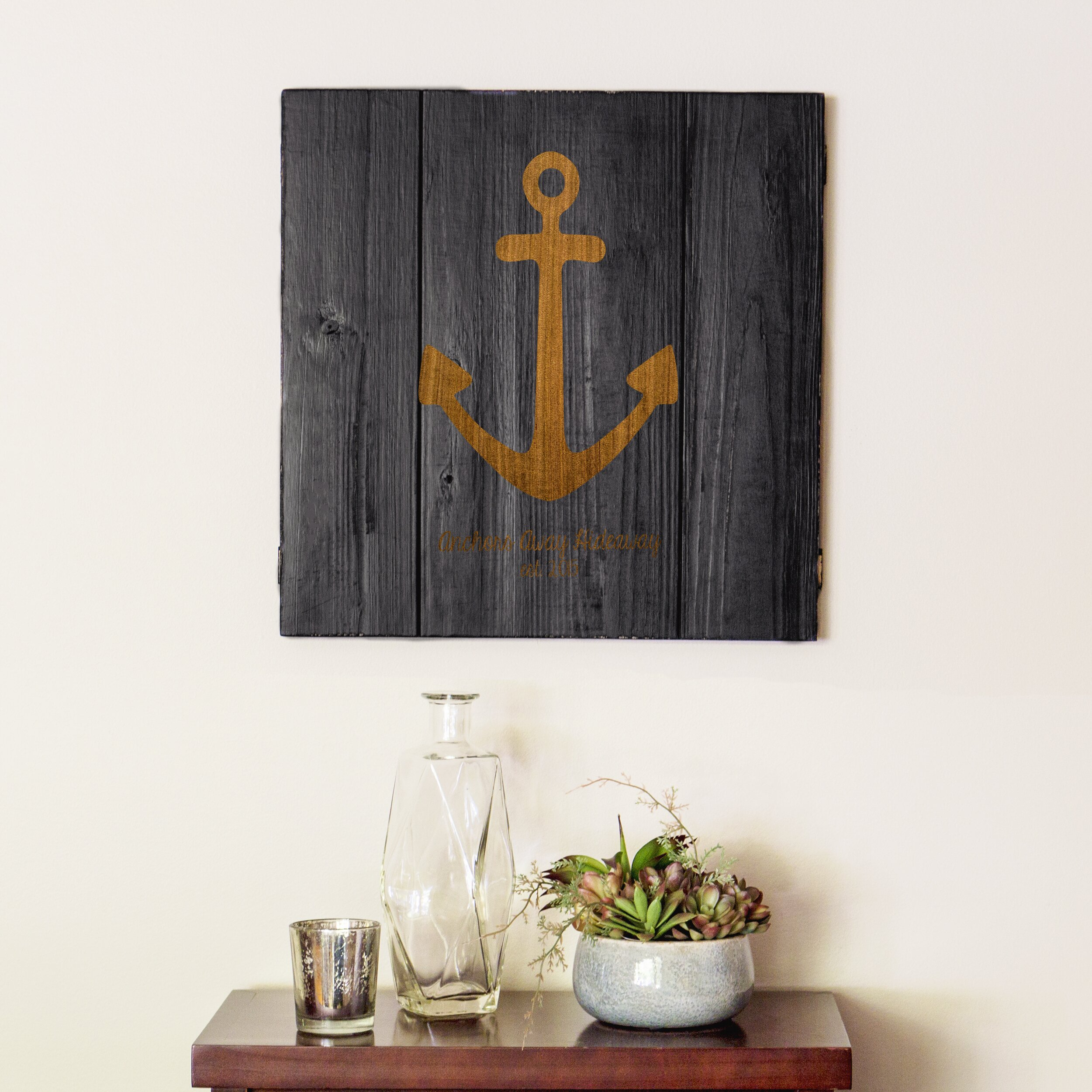 Personalized Wood Wall Decor : Cathys concepts personalized rustic anchor wooden wall