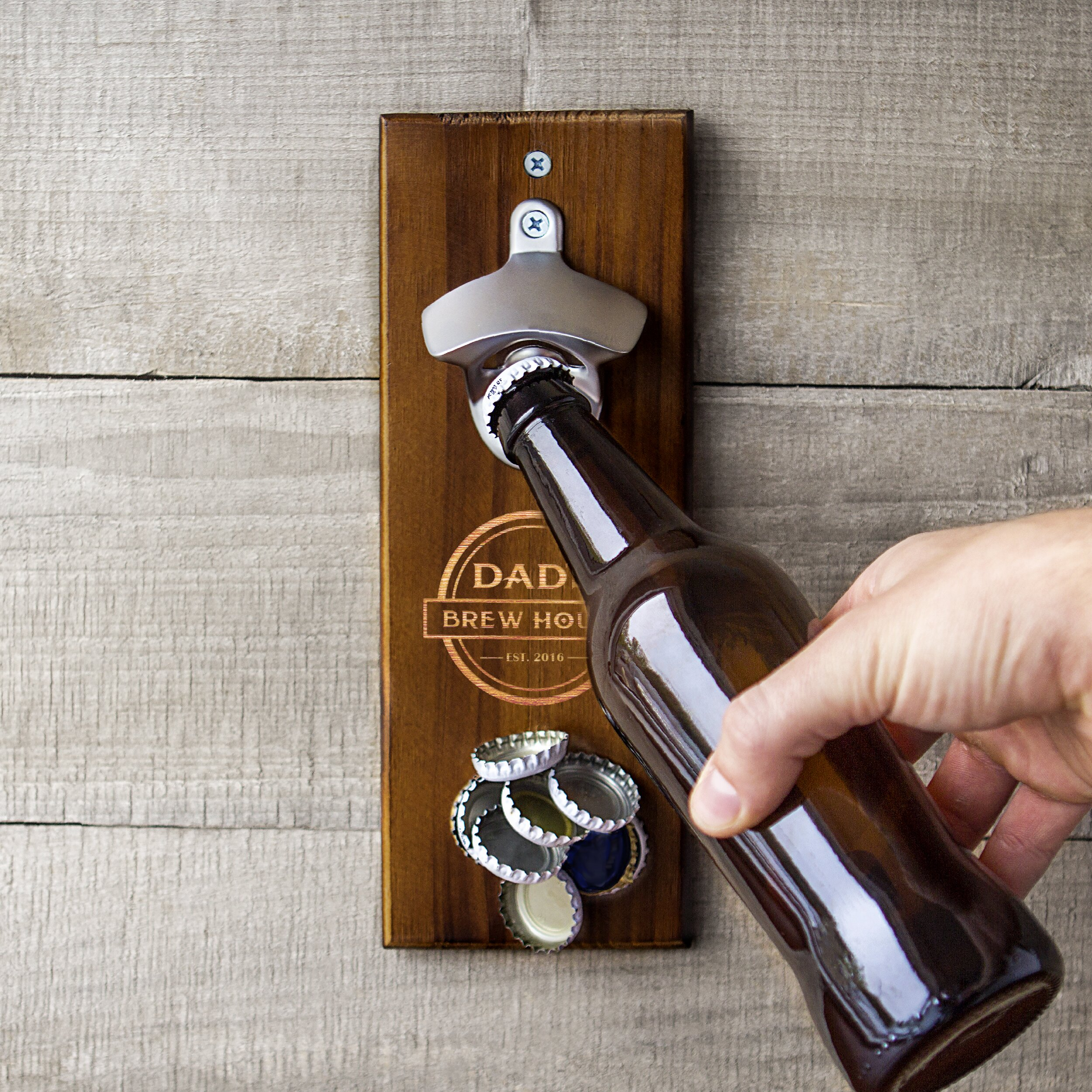 Cathys concepts personalized dad 39 s brew house wall mount bottle opener reviews - Personalized wall mount bottle opener ...