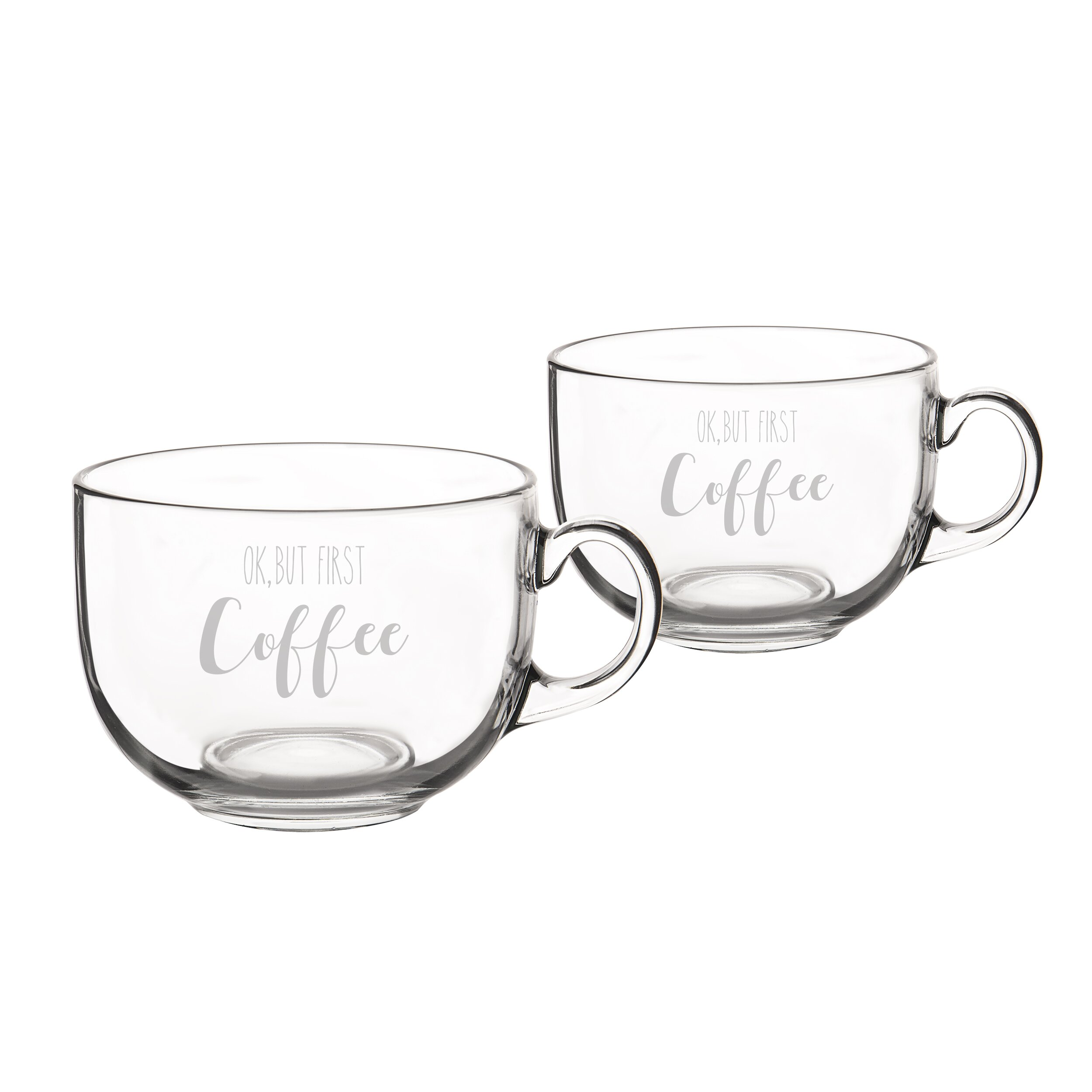 Cathys Concepts But First Coffee Large 22 Oz Glass Mugs