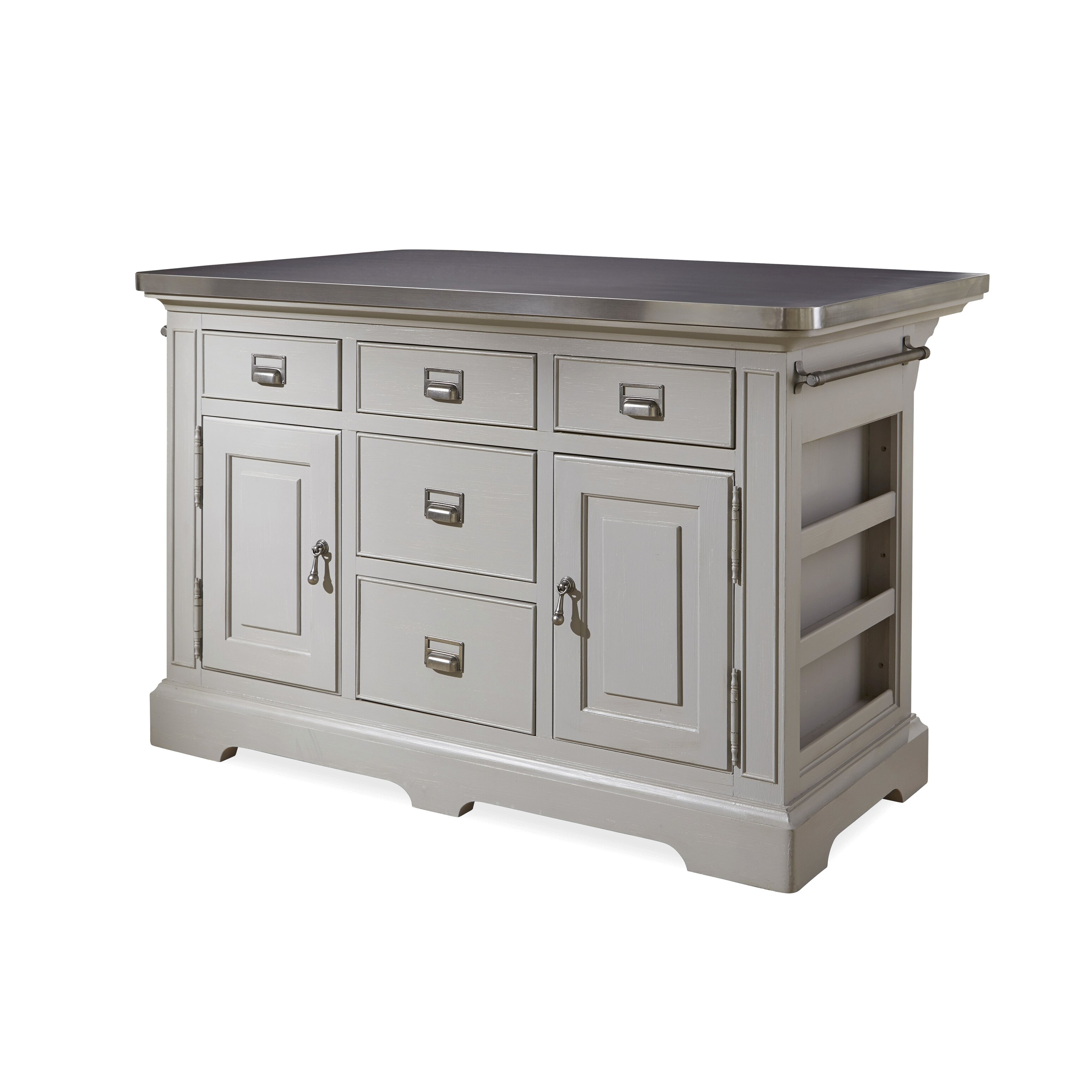 paula deen home dogwood kitchen island with stainless crosley furniture cambridge stainless steel top kitchen