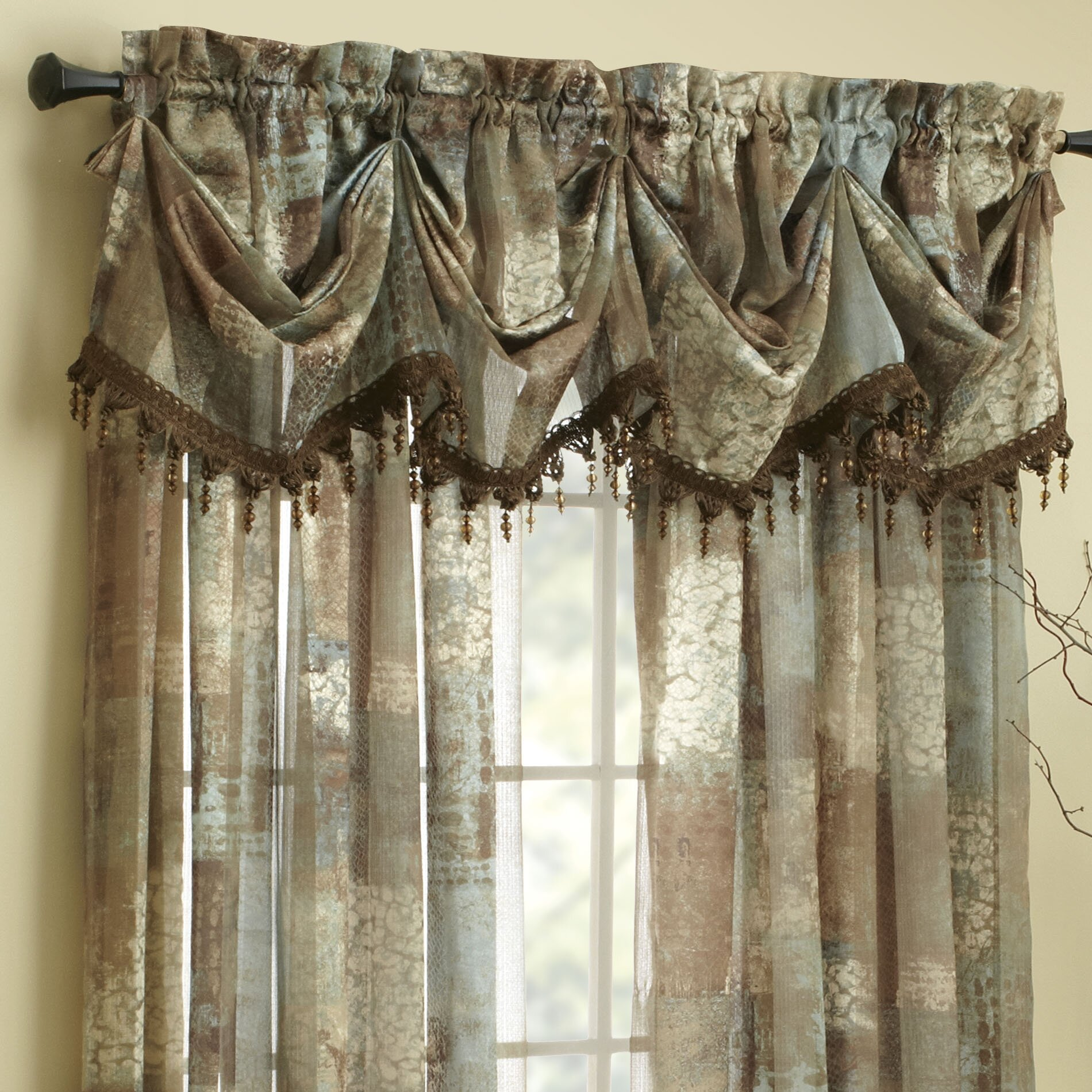 Chocolate Valance Croscill Madagascar Sheer 84 Quot Curtain