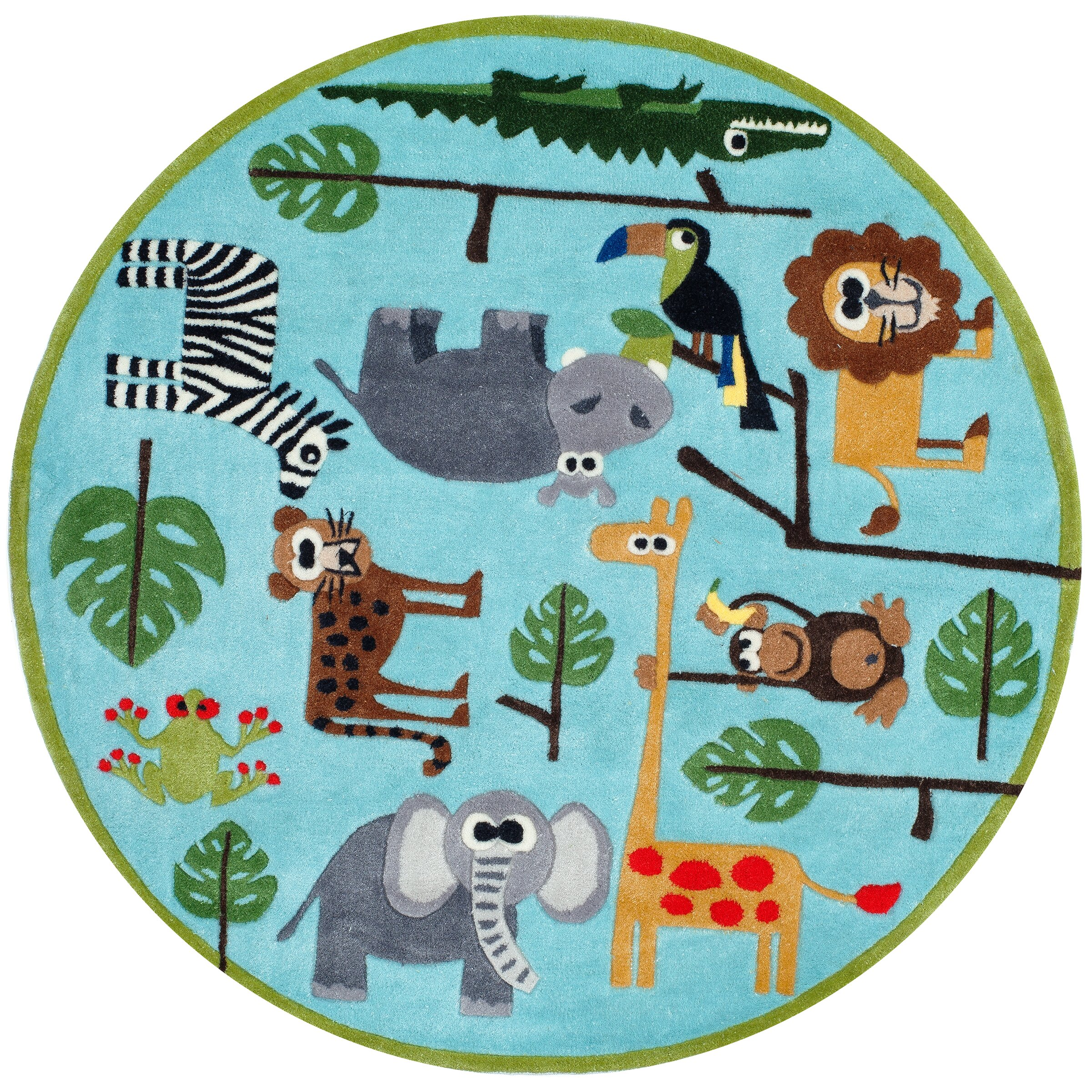 Momeni Lil 39 Mo Lil Mo Whimsy Blue Safari Kids Area Rug