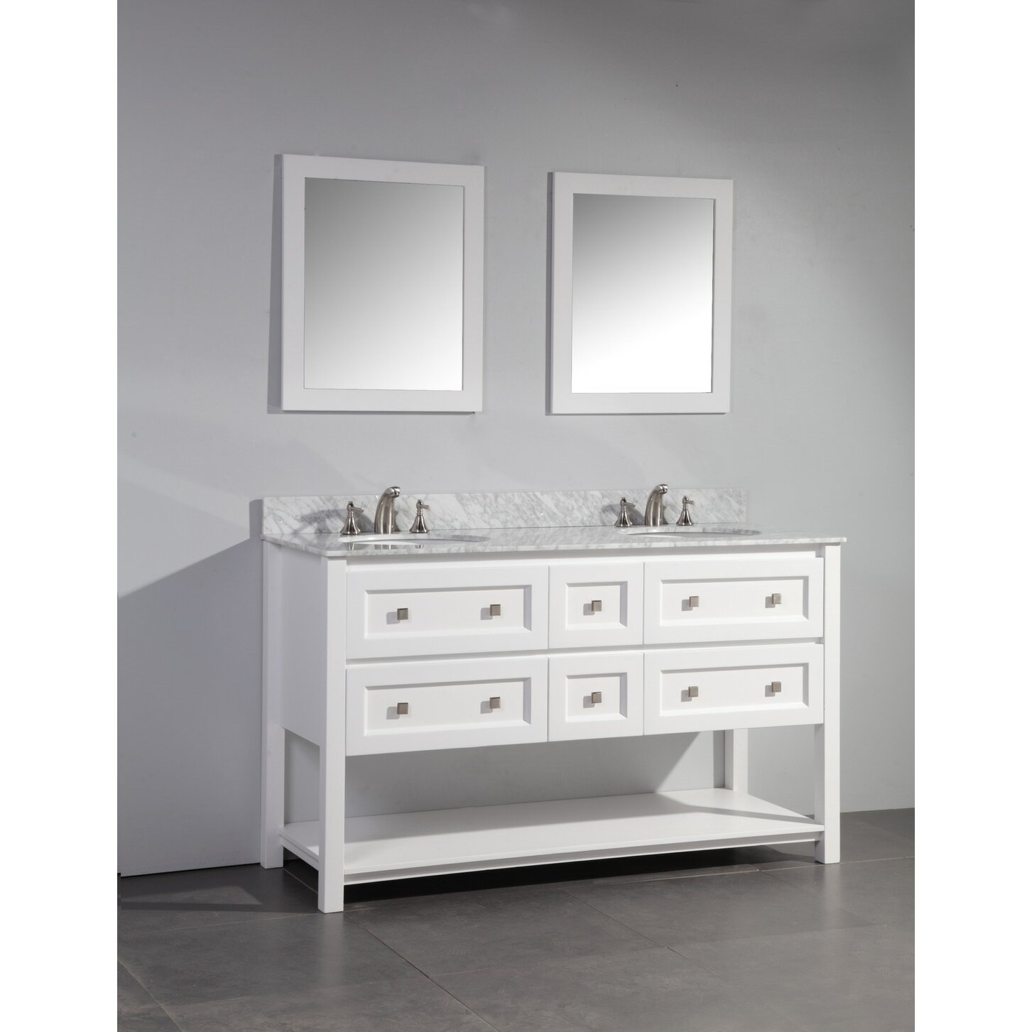 Dcor Design Albia 60 Double Sink Bathroom Vanity Set With Mirror Reviews Wayfair