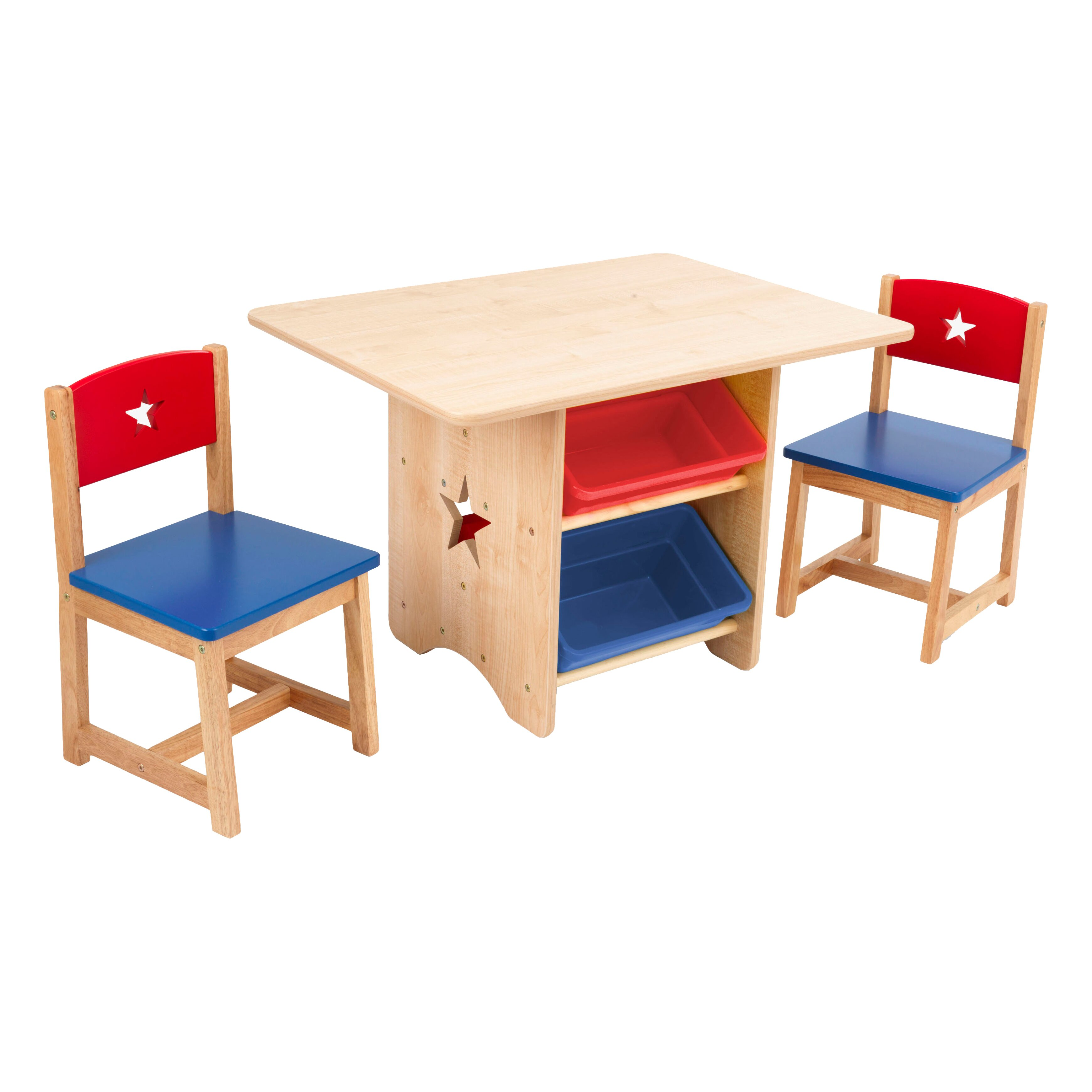 Kidkraft children 39 s 3 piece rectangular table and chair - Sillas antiguas de madera ...