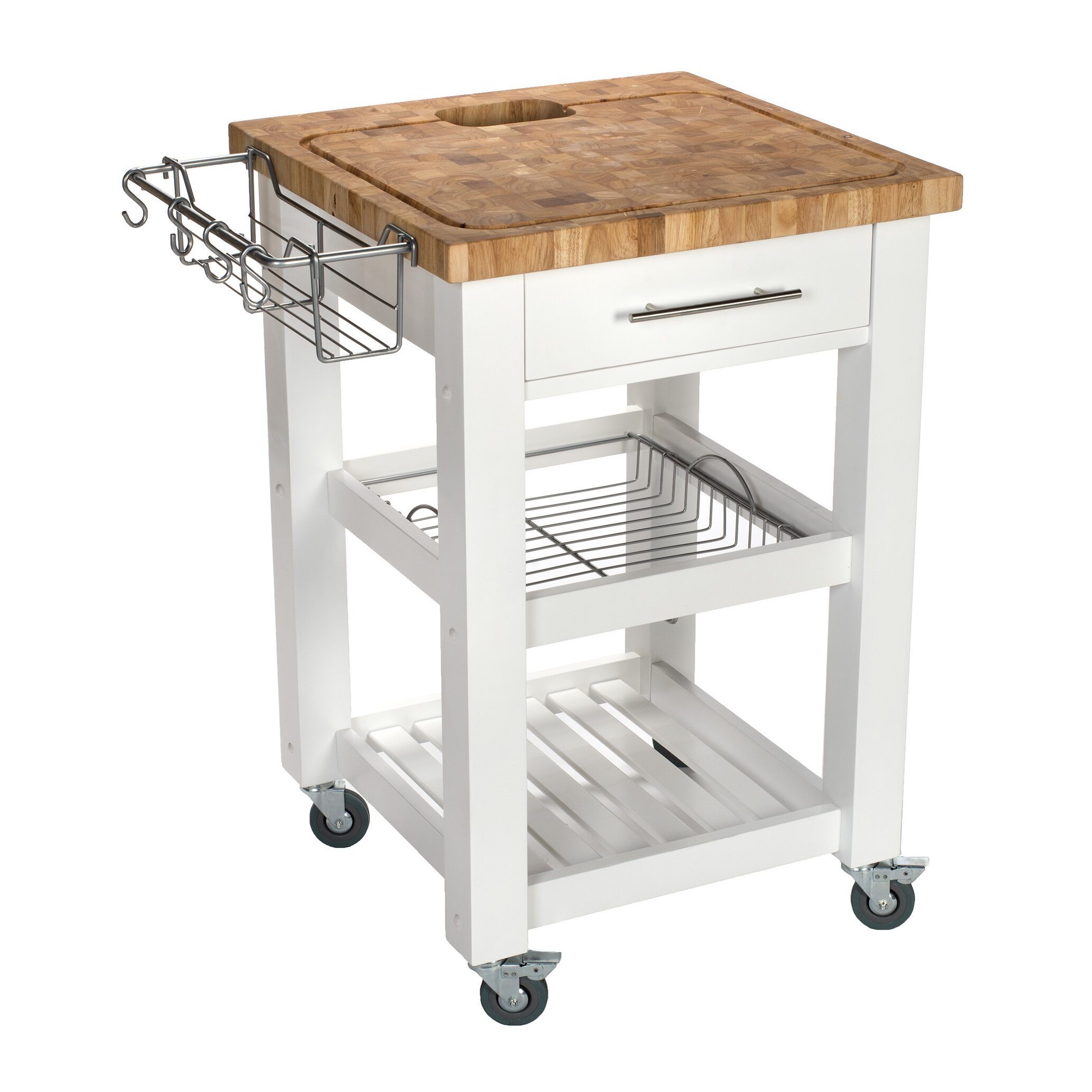 Chris Chris Pro Chef Kitchen Cart With Butcher Block Top