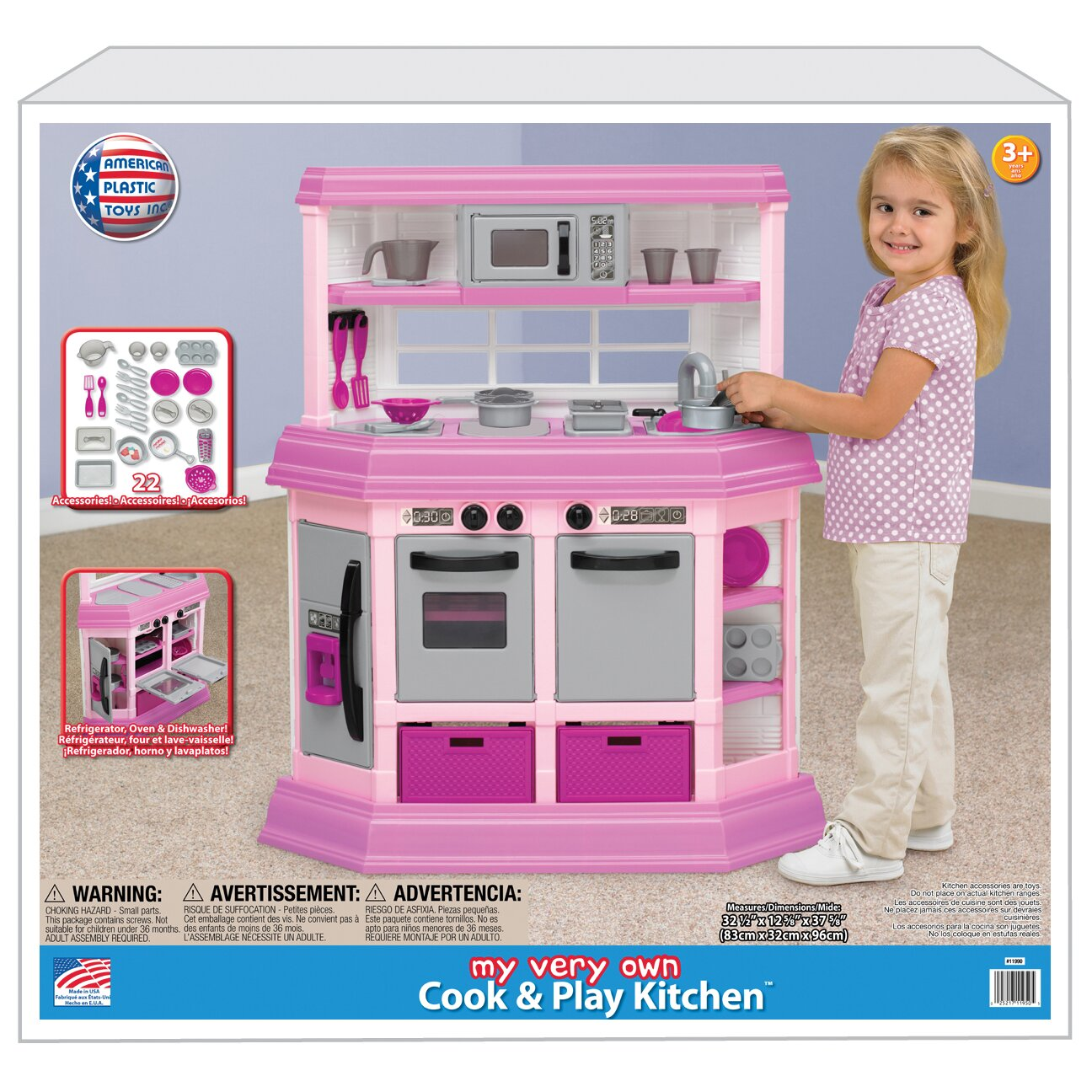 American plastic toys 22 piece cook and play kitchen set for Kitchen set plastic