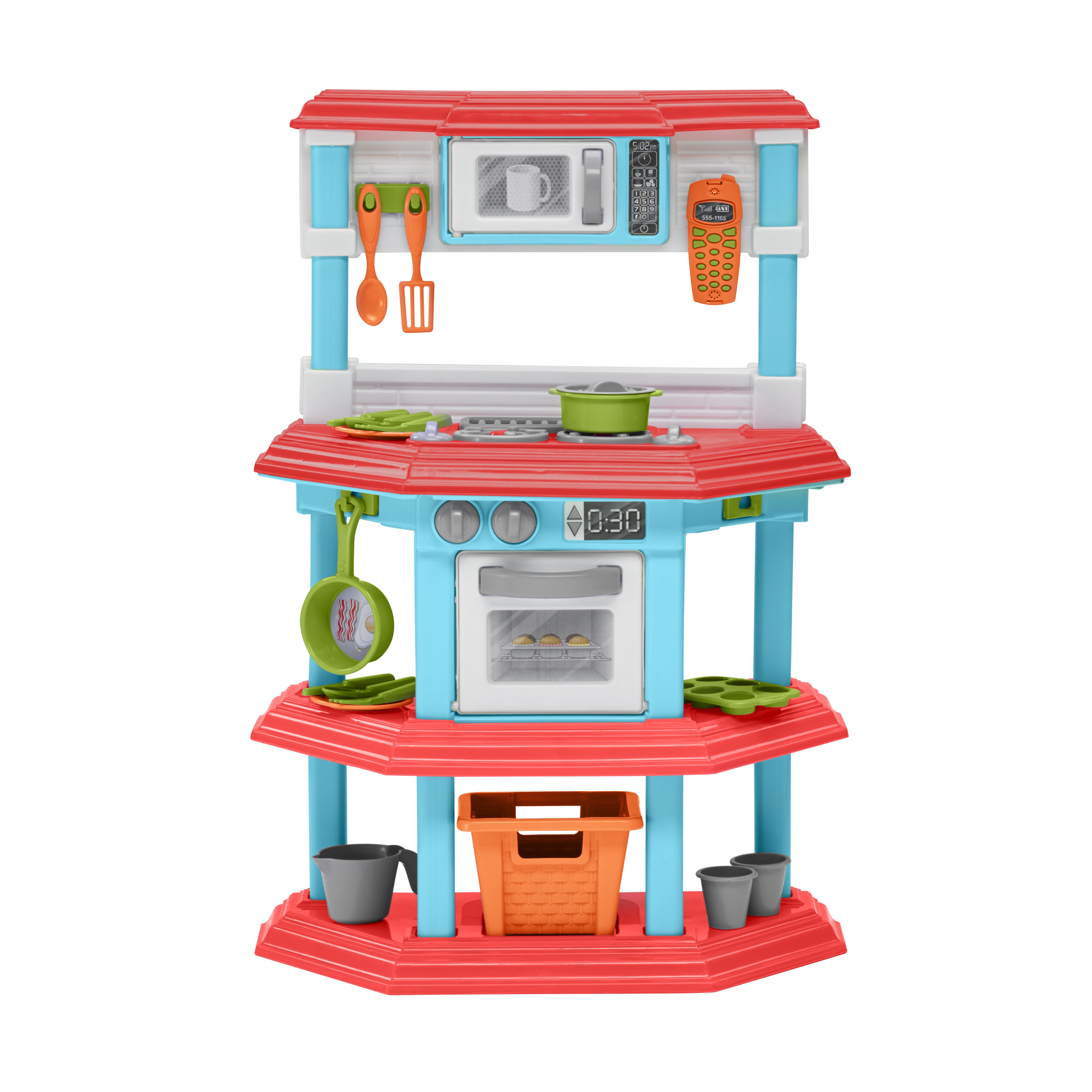 American plastic toys 23 piece my very own gourmet kitchen for Plastic kitchen set