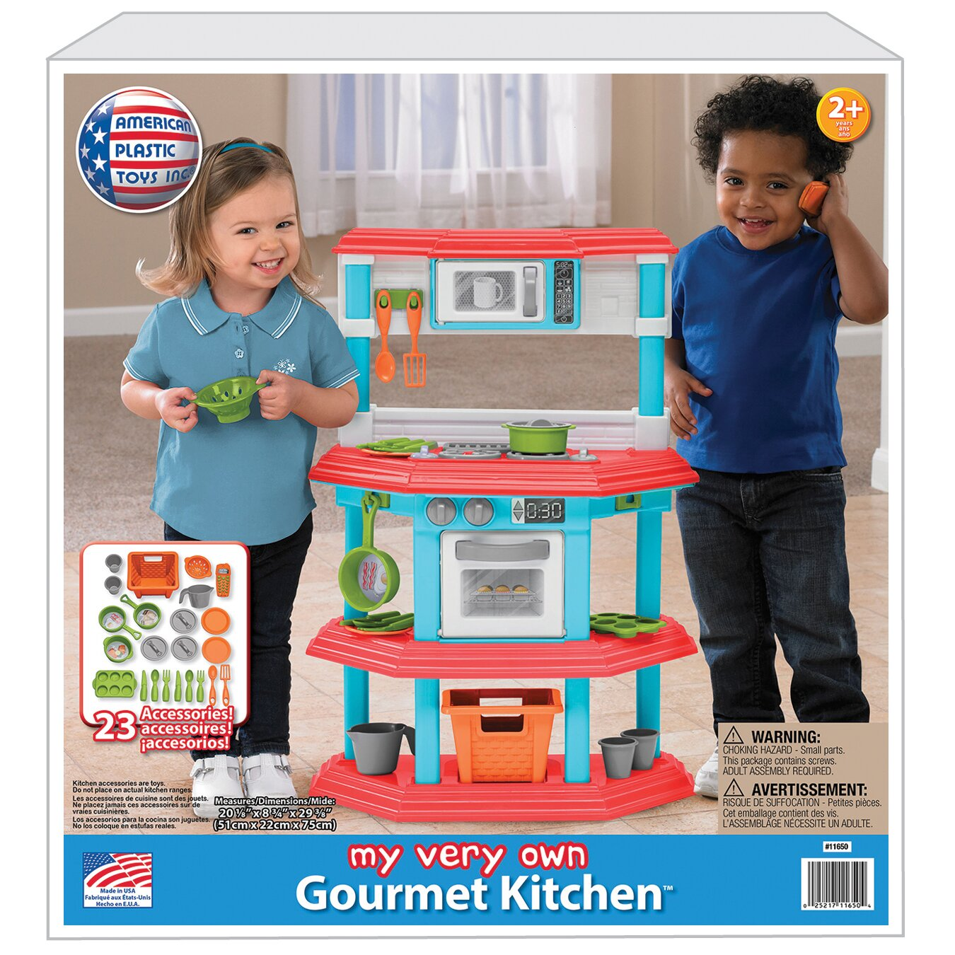 American plastic toys 23 piece my very own gourmet kitchen for Kitchen set plastic