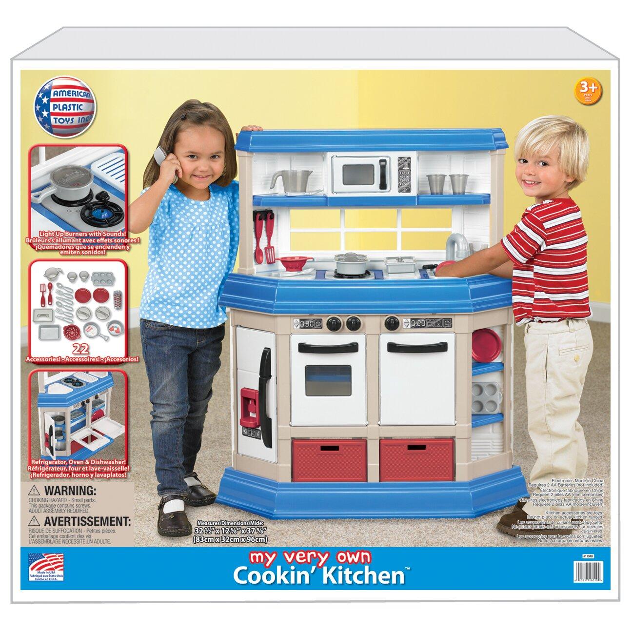 American plastic toys 22 piece kitchen set reviews wayfair for Plastic kitchen set