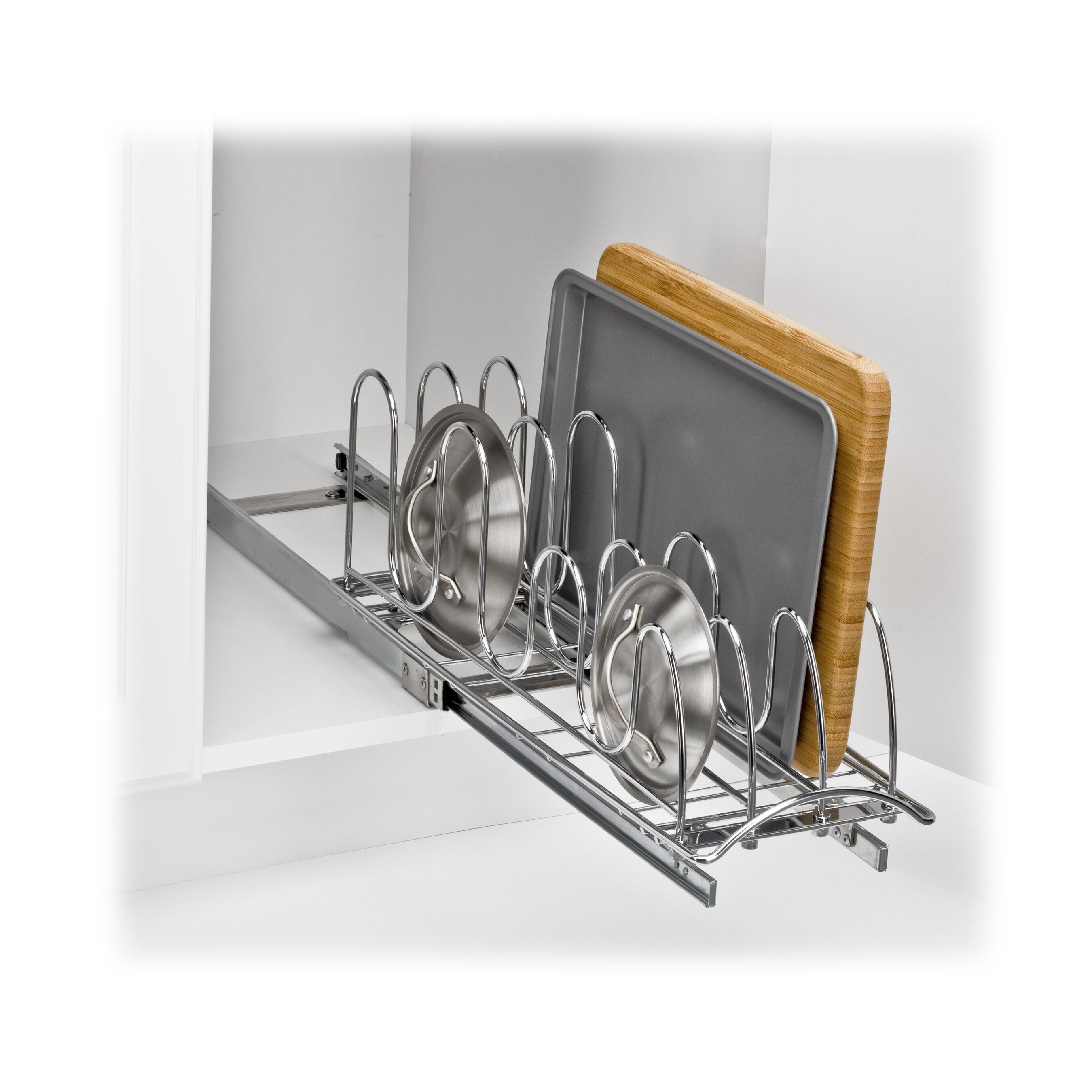 Lynk roll out pan lid holder pull out kitchen cabinet for 21 inch deep kitchen cabinets