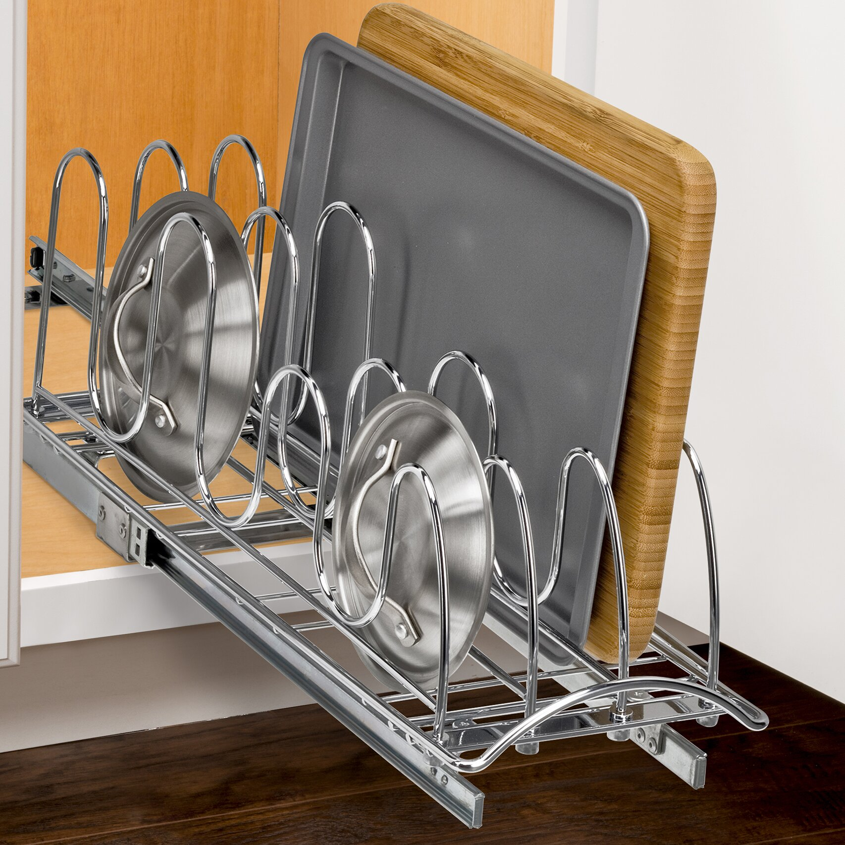 Lynk roll out pan lid holder pull out kitchen cabinet organizer rack inch wide x 21 - Cabinet pull out pot rack ...