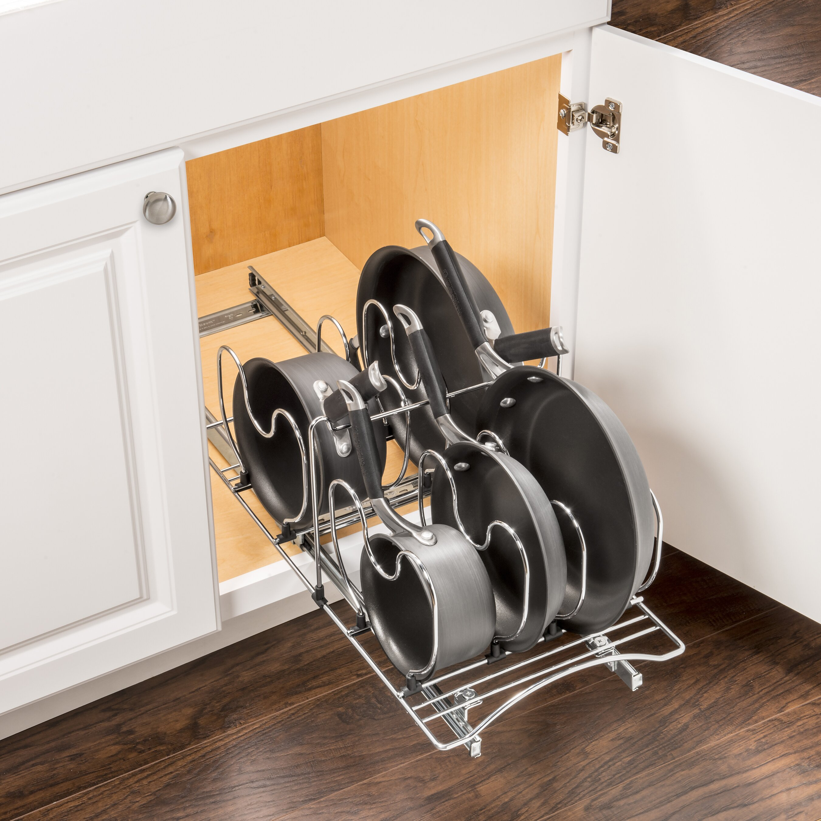 Lynk Roll Out Cookware Organizer - Pull Out Under Cabinet ...