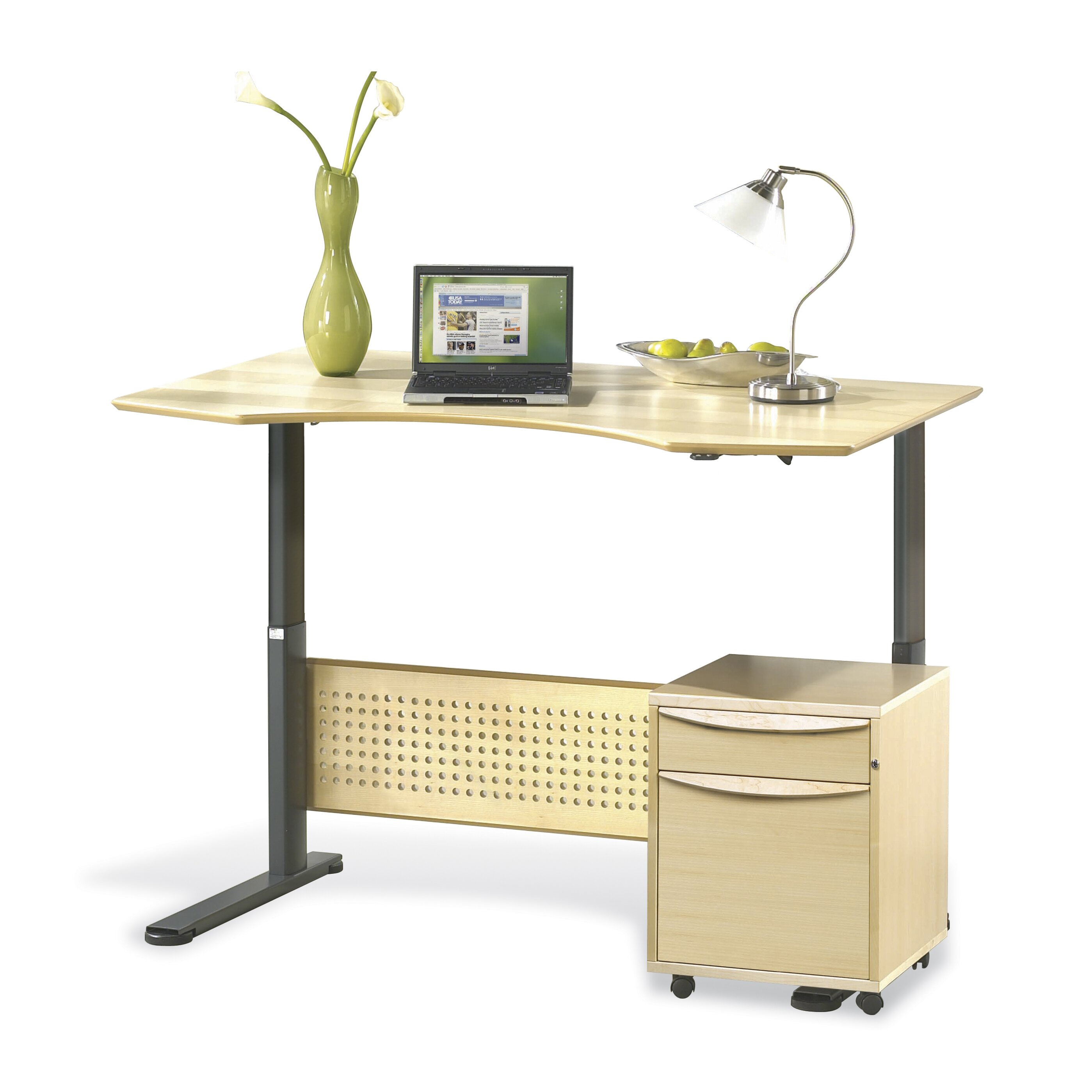 Unique furniture sit stand series prestige wood height for Standing office desk furniture