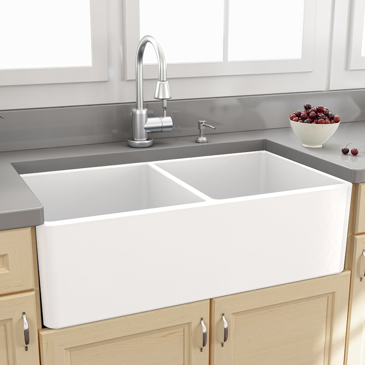 "Nantucket Sinks Farmhouse 33"" x 18"" Double Bowl Kitchen Sink with G"
