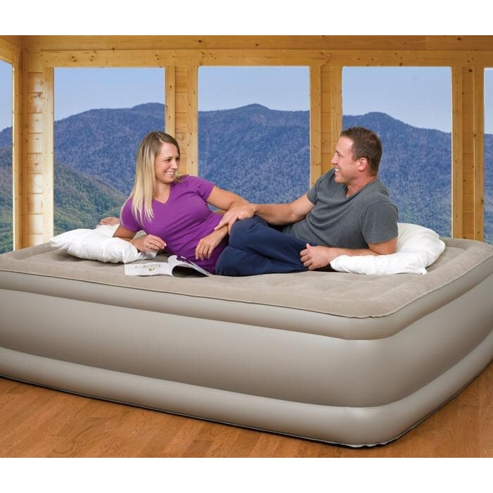 Pure Comfort Queen Raised Suede Top Air Bed with Built in ...