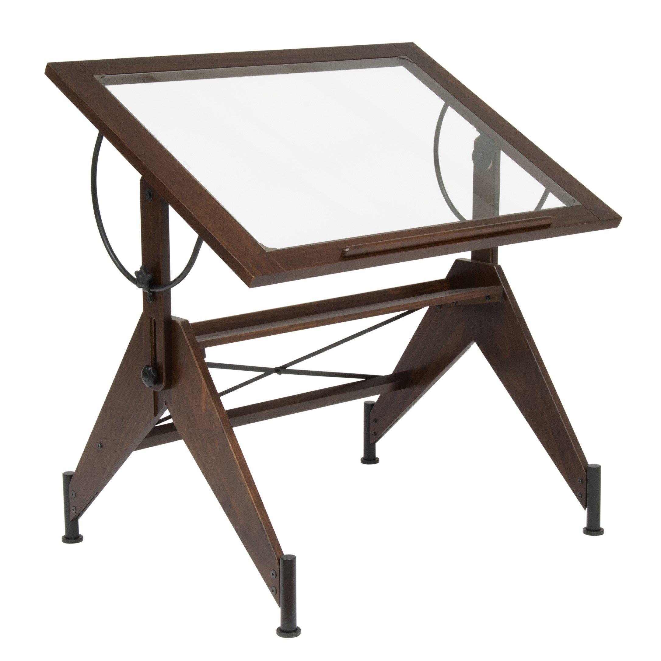 Studio designs aries glass drafting table reviews wayfair - Drafting table designs ...