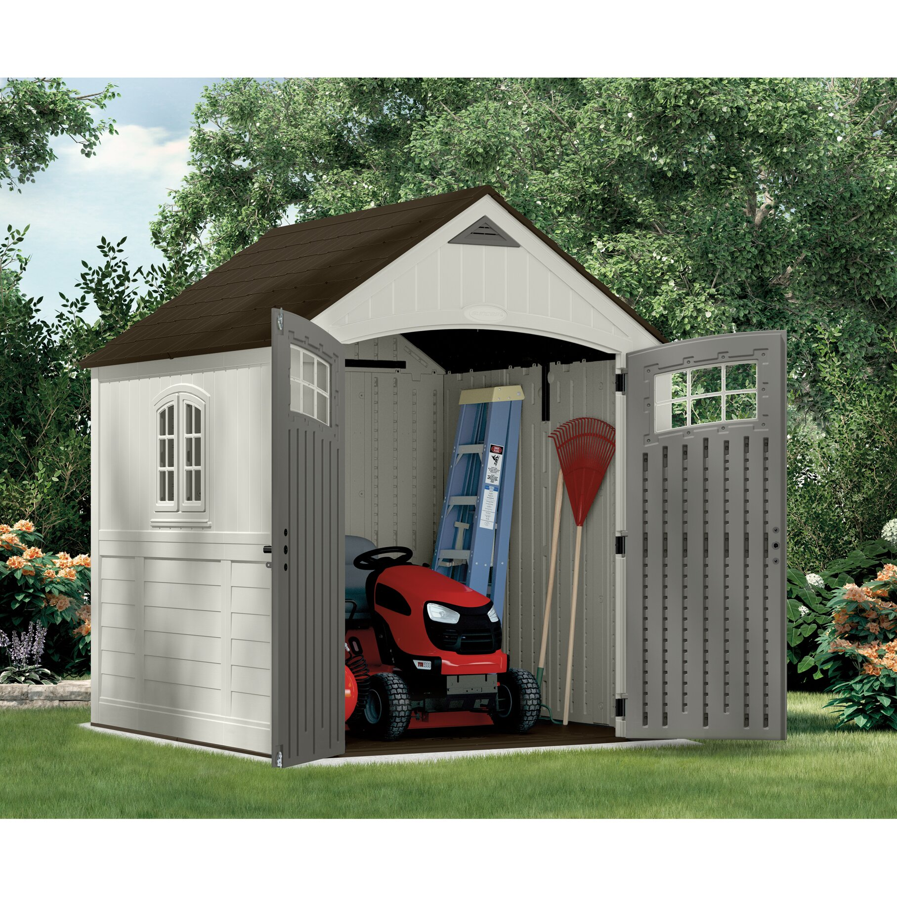 Suncast cascade 7 ft w x 7 ft d resin storage shed for Outdoor storage sheds for sale cheap