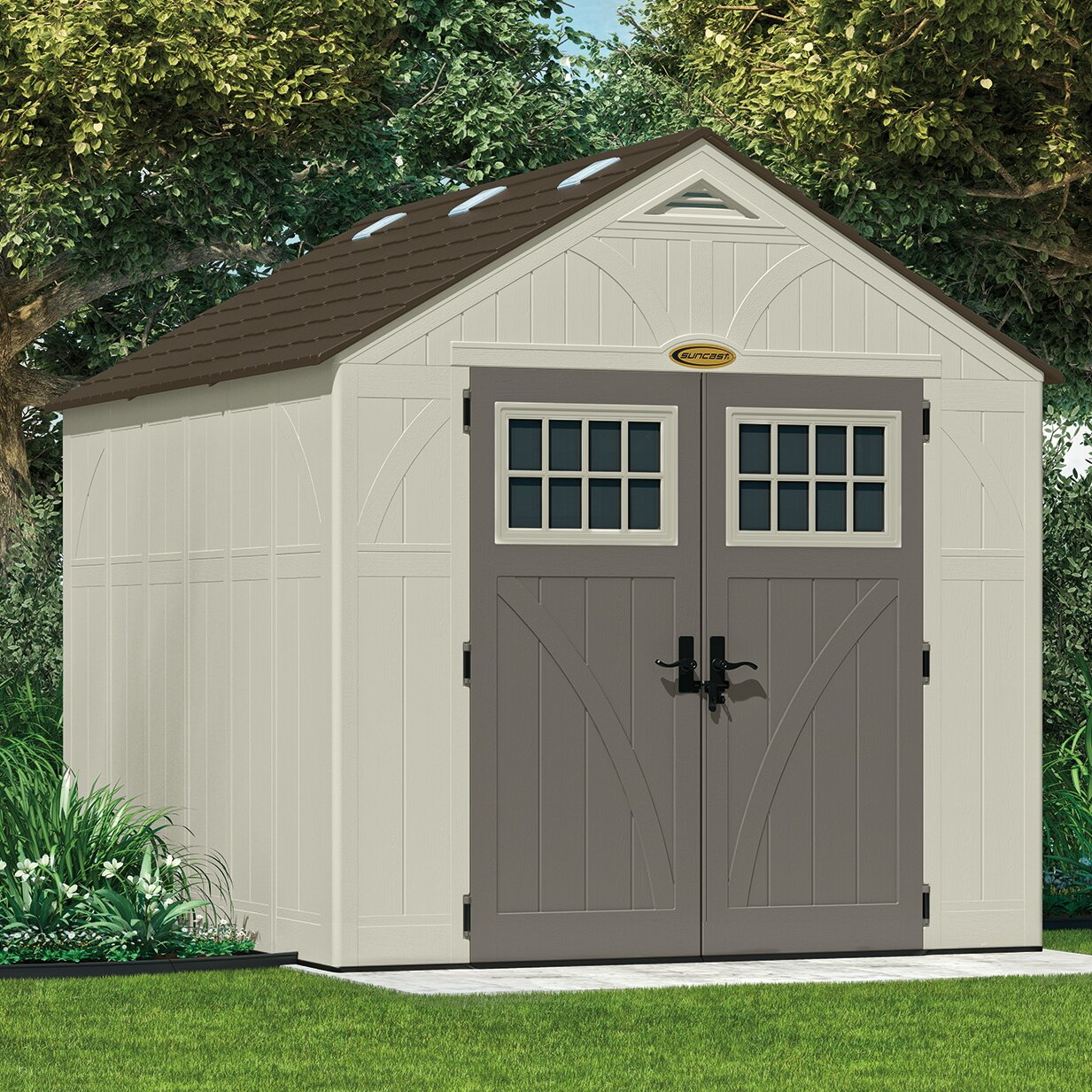 Suncast tremont 8 ft w x 10 ft d resin storage shed for Resin garden shed
