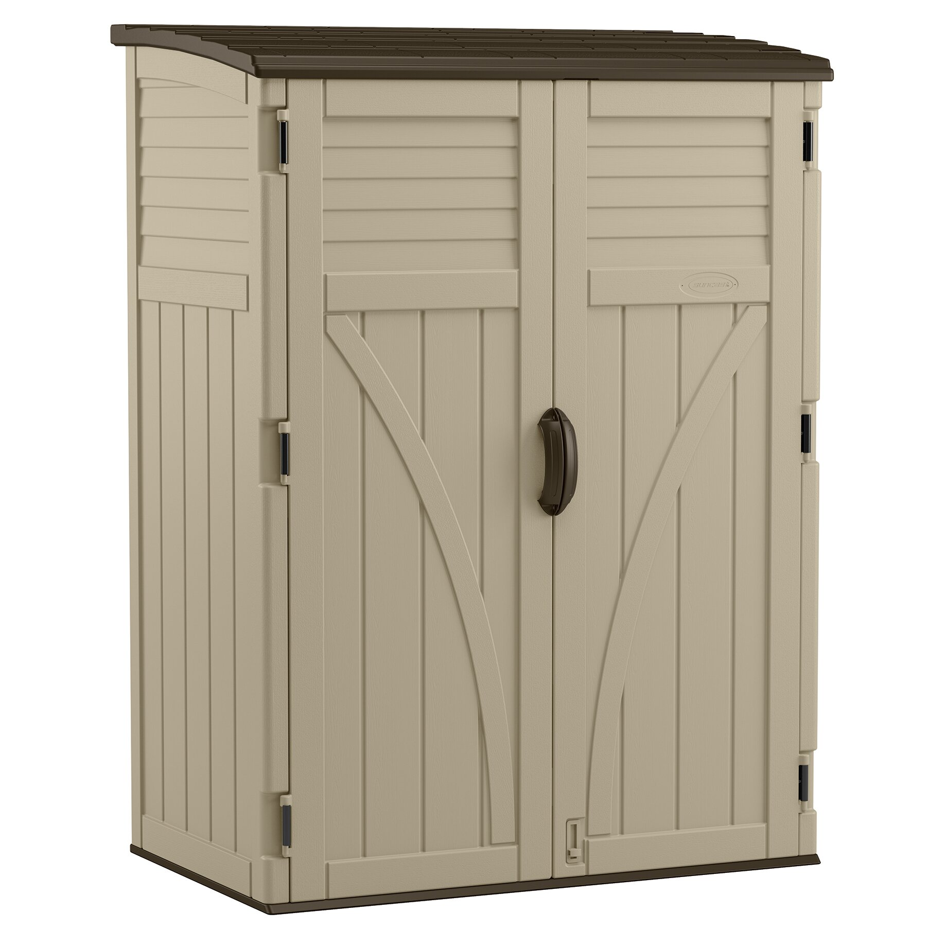 Suncast 4 4 ft w x 2 7 ft d plastic storage shed for Garden shed 2 x 2