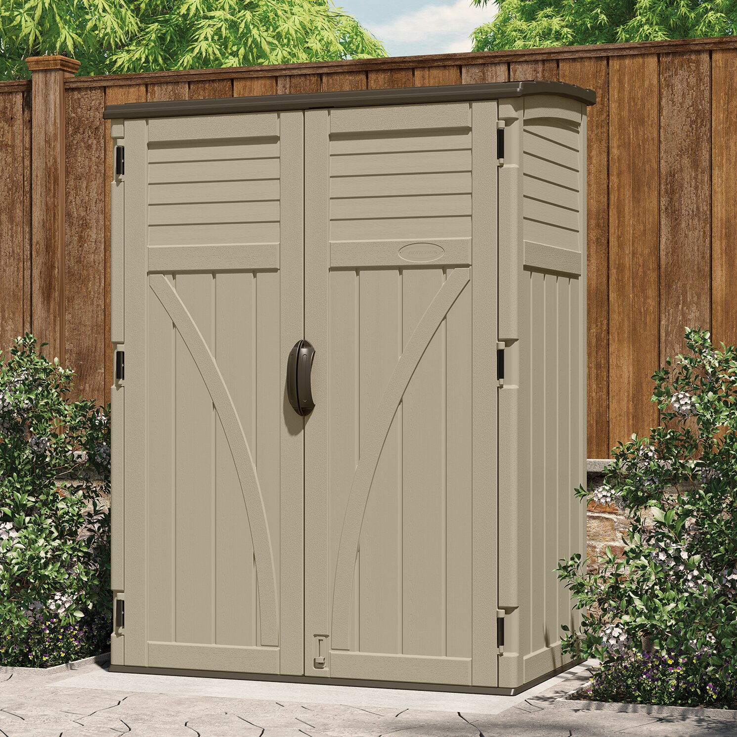 Suncast 4 4 ft w x 2 7 ft d plastic storage shed for Garden shed 4 x 2