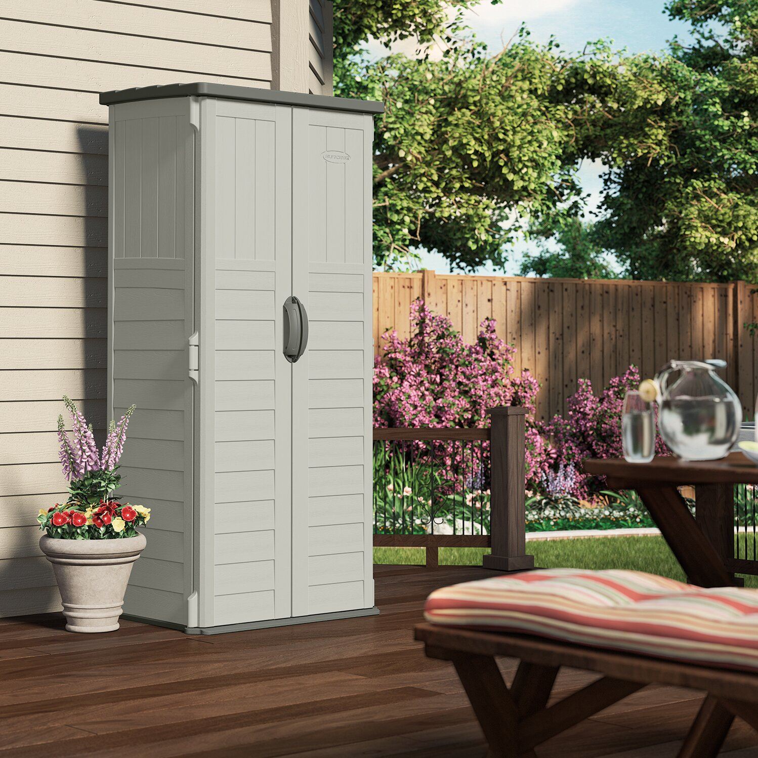 Suncast 2 7 ft w x 2 1 ft d plastic tool shed reviews for Backyard storage sheds for sale