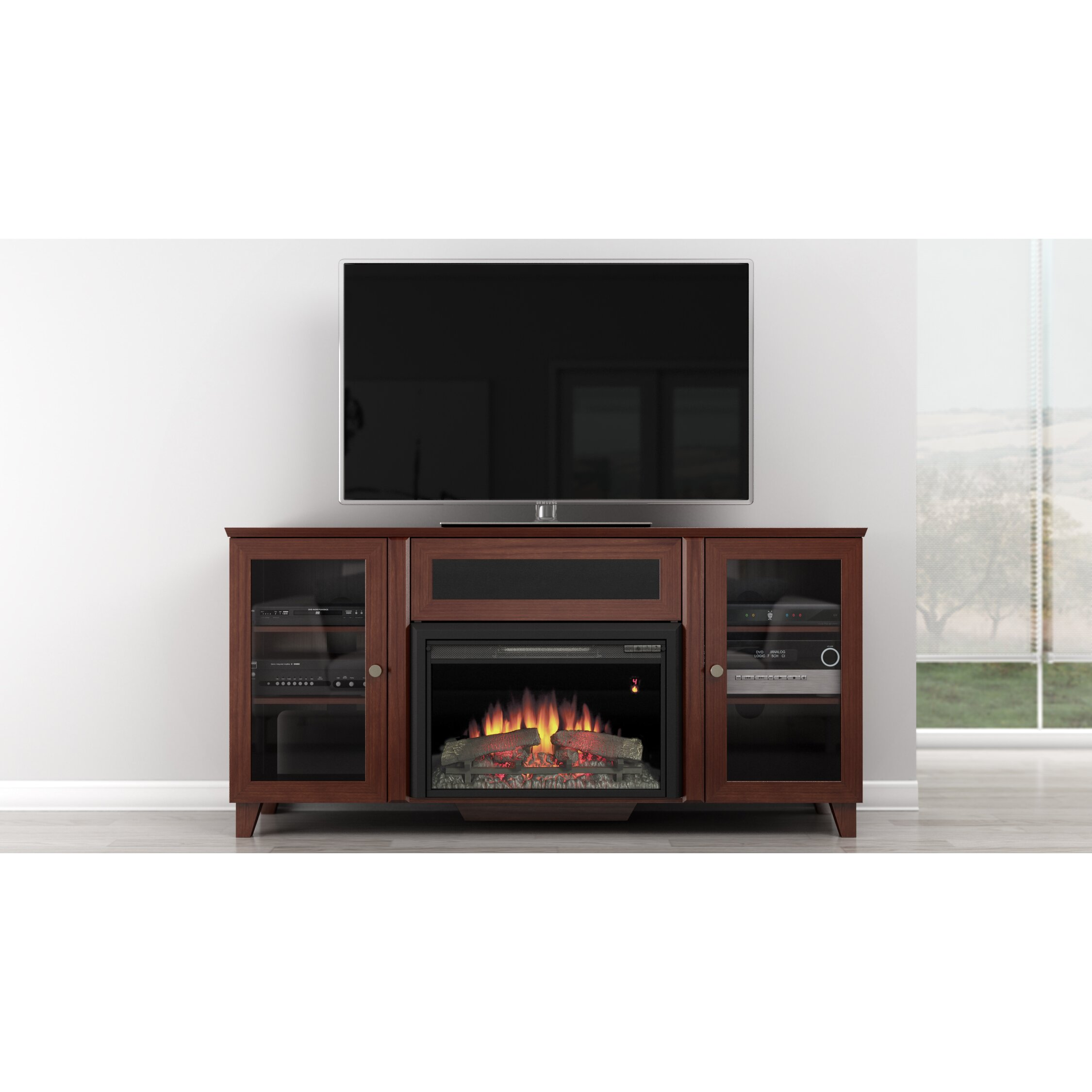 Furnitech Shaker Style TV Stand with Electric Fireplace & Reviews ...