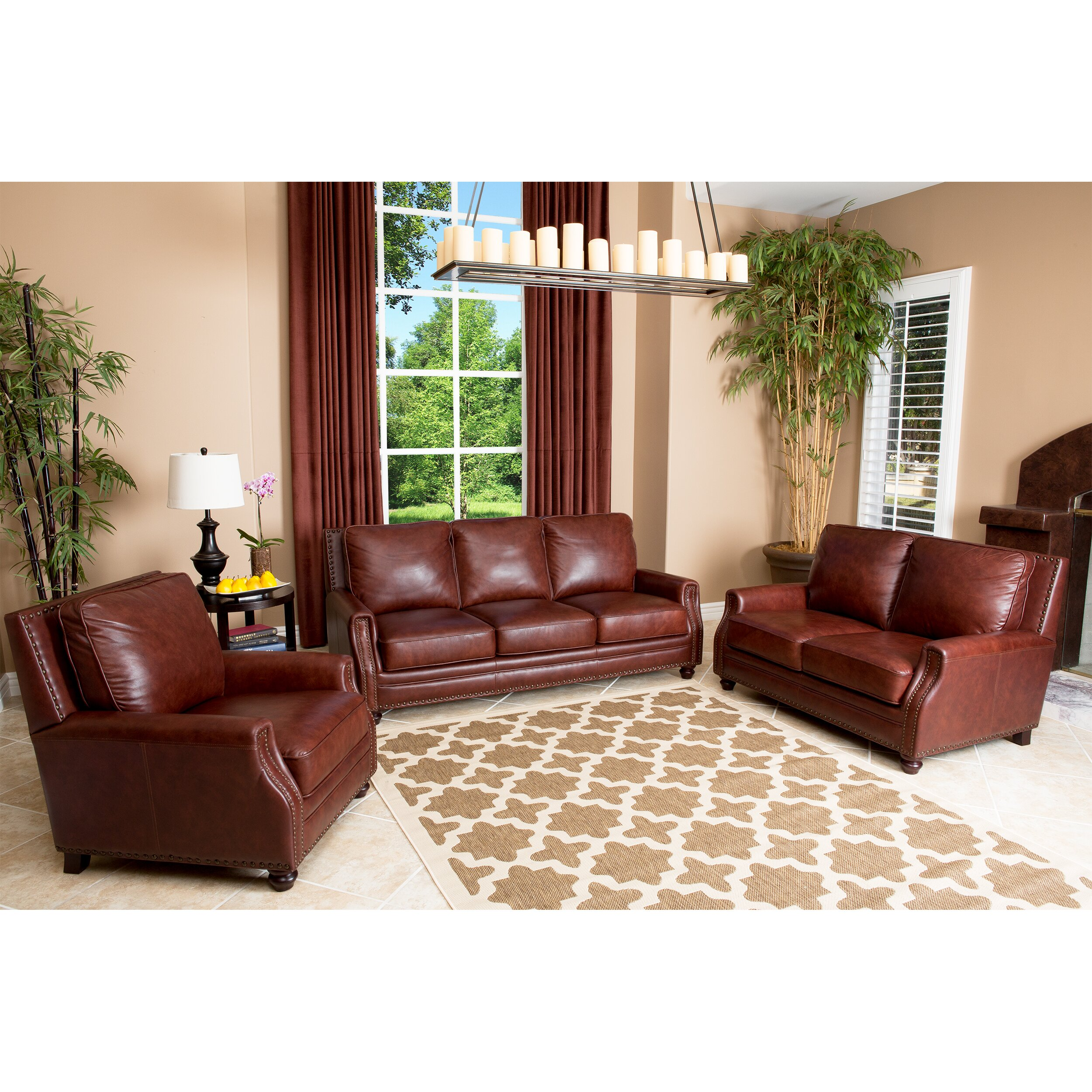 Abbyson Living Bel Air Leather Sofa Reviews Wayfair