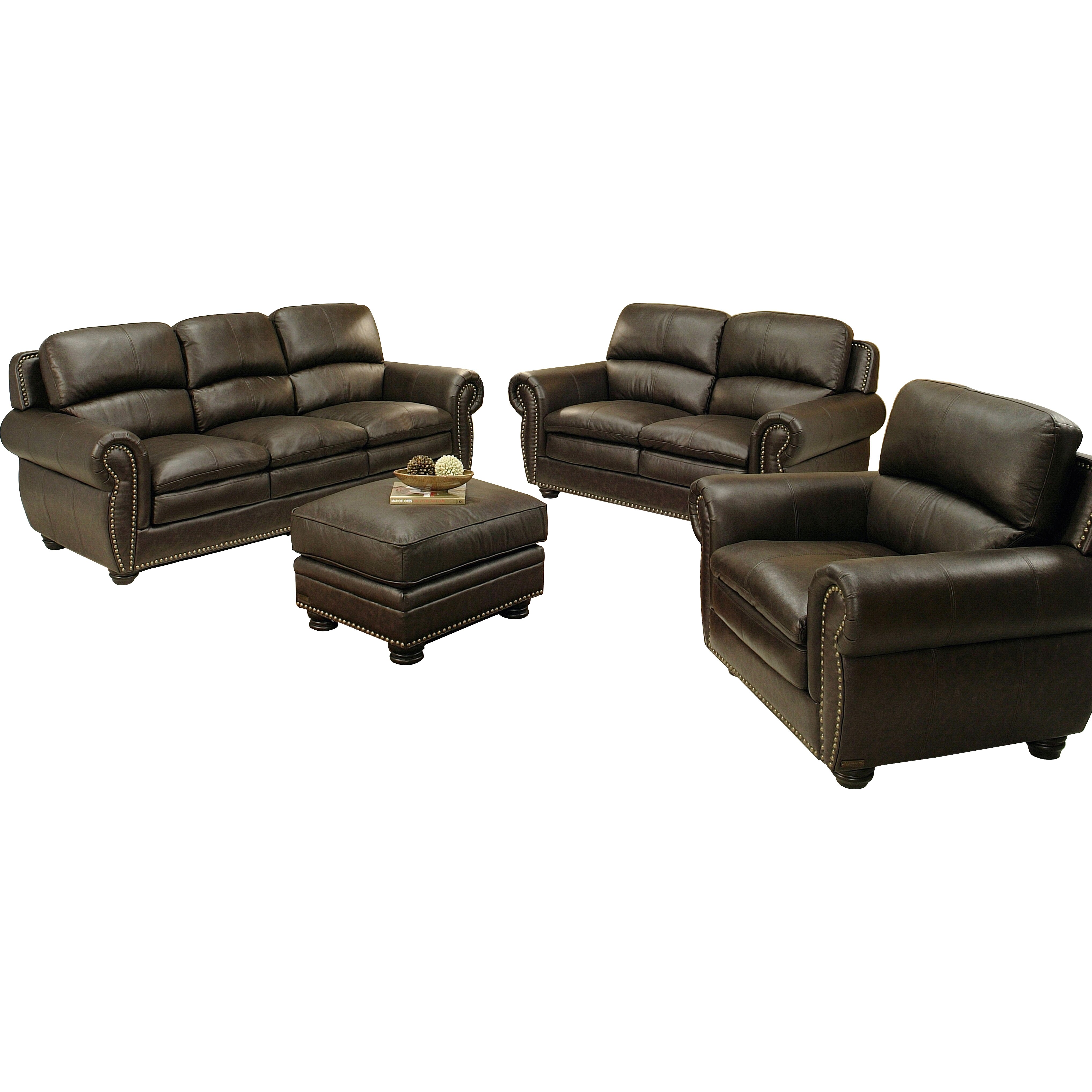 Abbyson Living Ridgecrest 4 Piece Top Grain Leather Living Room Collection Wayfair Supply