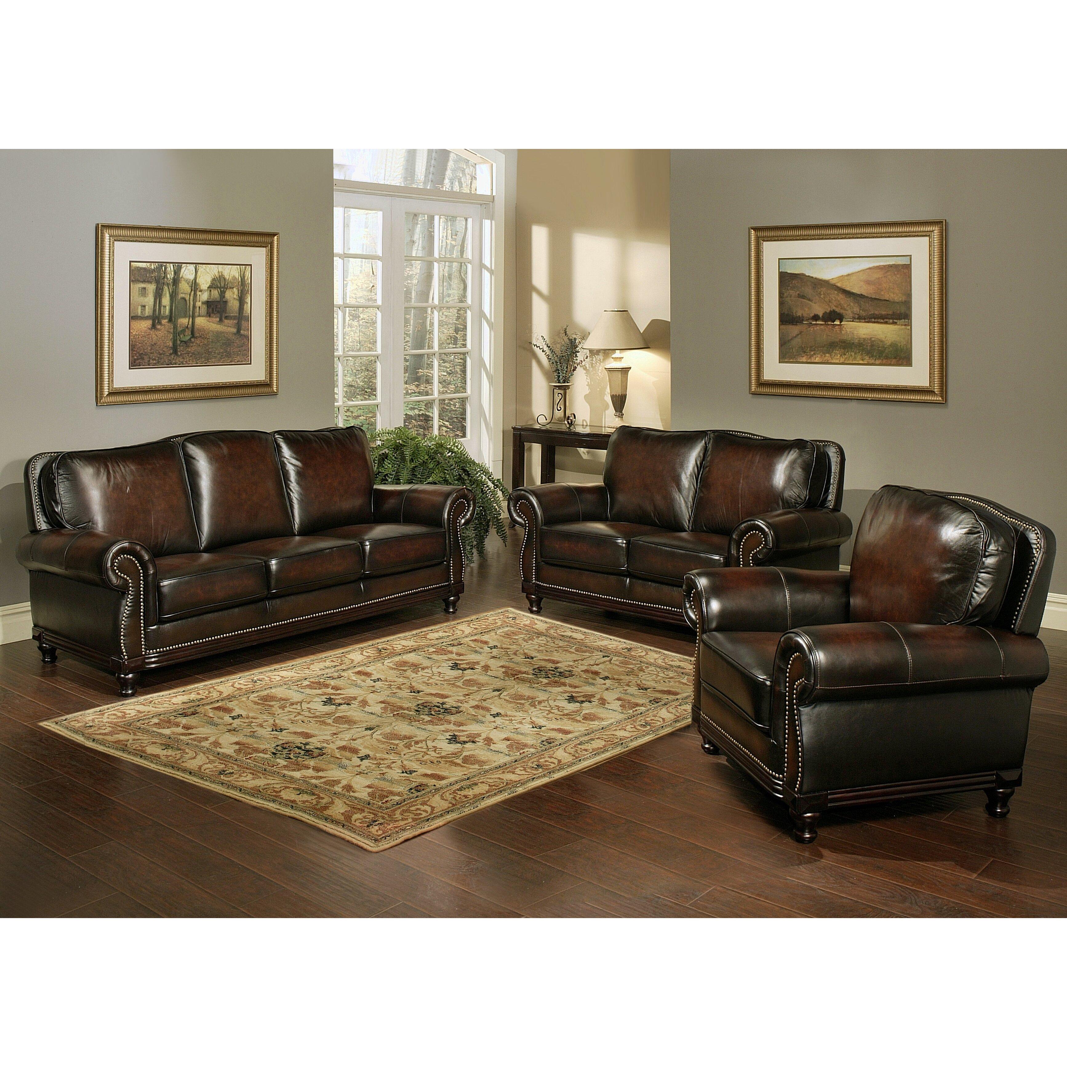 Abbyson Living Barrington Hand Rubbed Top Grain Leather Sofa