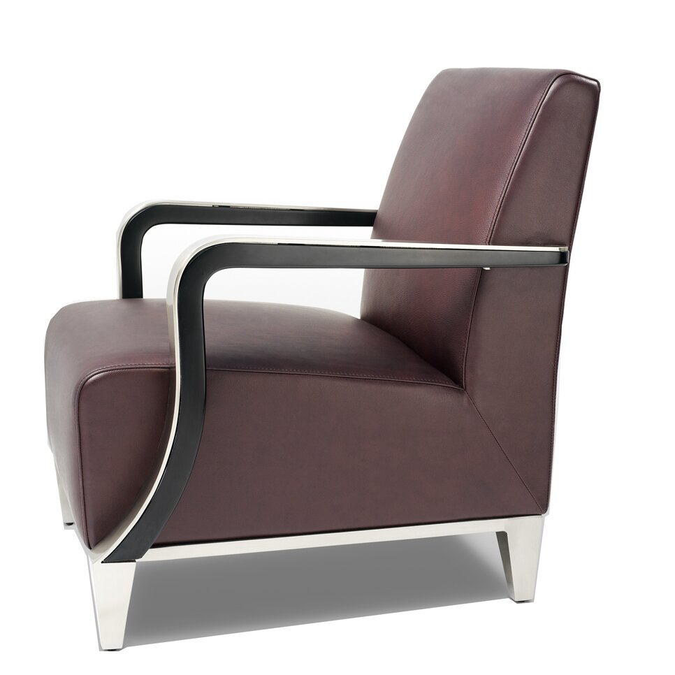 Bellini modern living marbella leather arm chair reviews for Modern arm chair