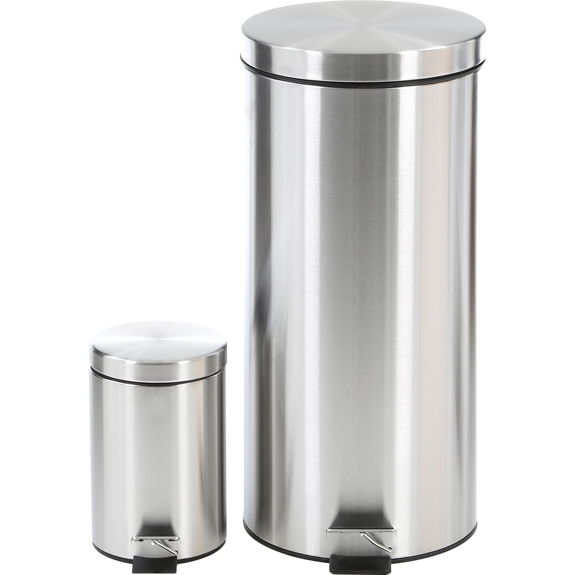 Honey Can Do Honey-Can-Do 2 Piece Stainless Steel Step Trash Can Set
