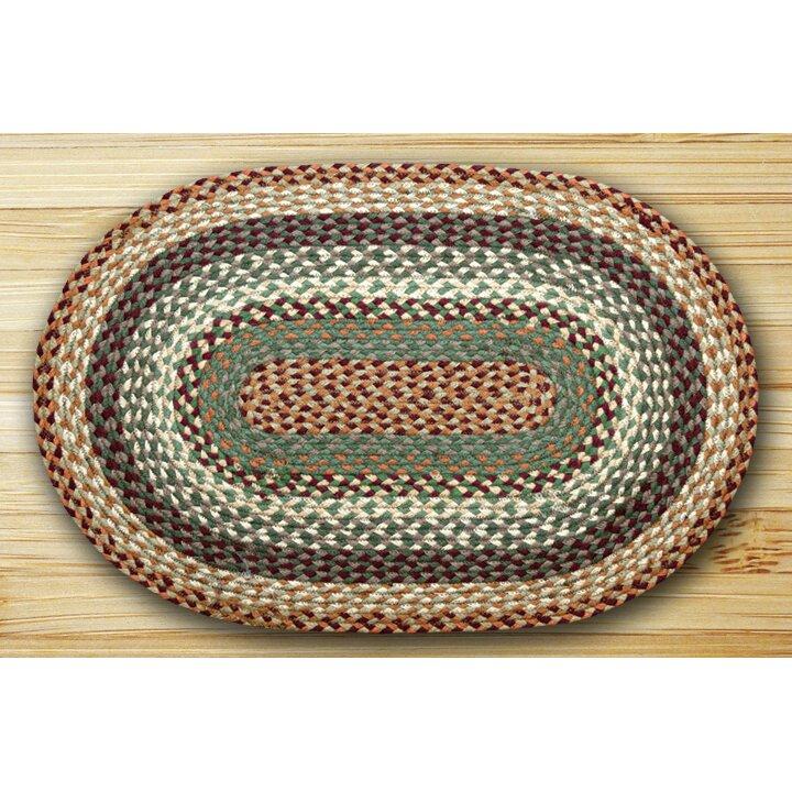 EarthRugs Oval Braided Buttermilk/Cranberry Area Rug