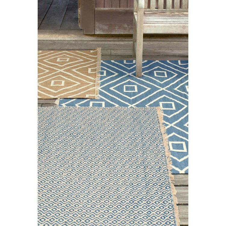 Dash and albert rugs mali hand woven blue indoor outdoor for Woven vinyl outdoor rugs