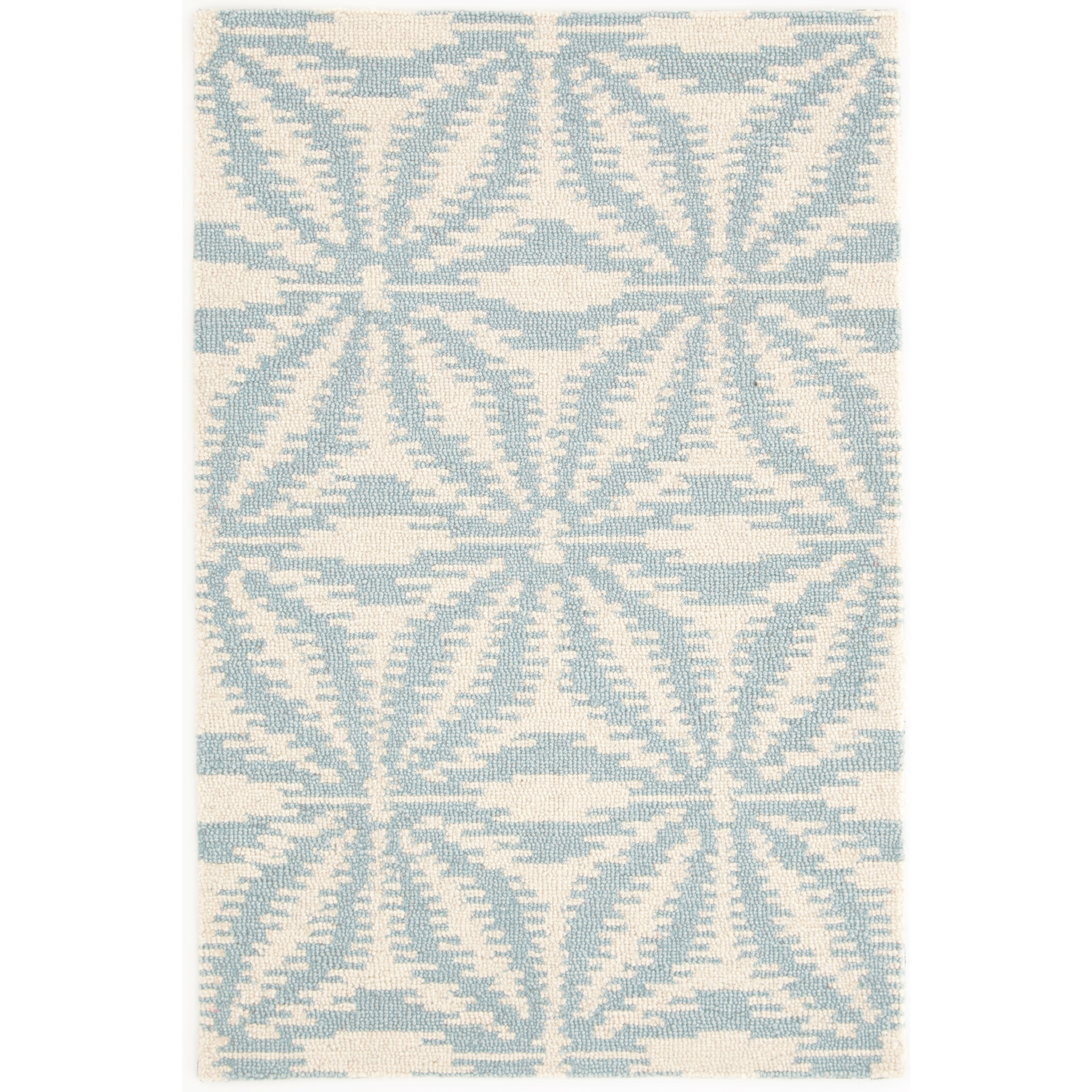 Dash and albert rugs aster hooked white blue area rug for Blue and white area rugs