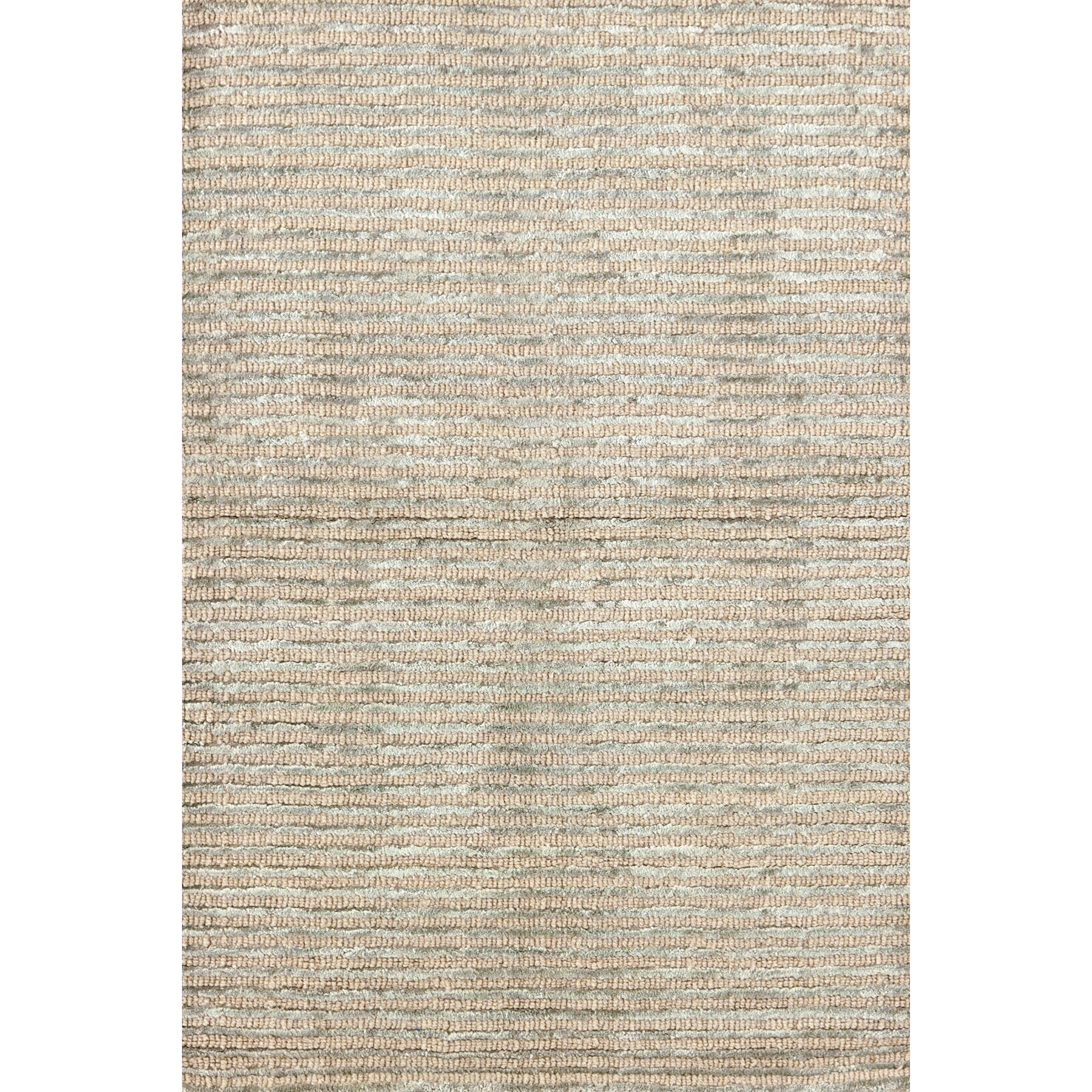 Dash And Albert Rugs Cut Stripe Ocean Hand Knotted Beige