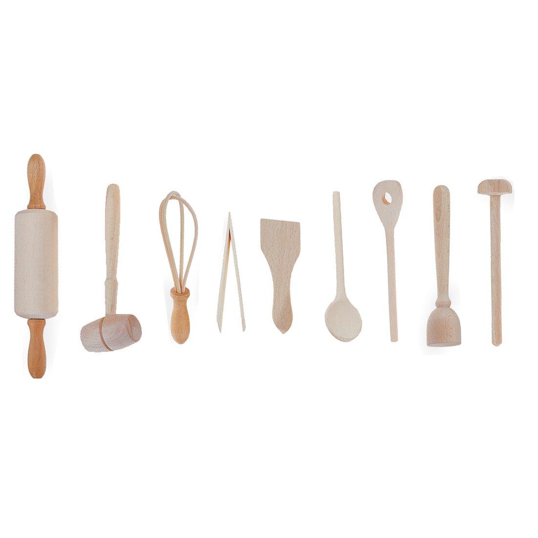 Fox run craftsmen 9 piece kids kitchen utensil set for Kitchen set utensils
