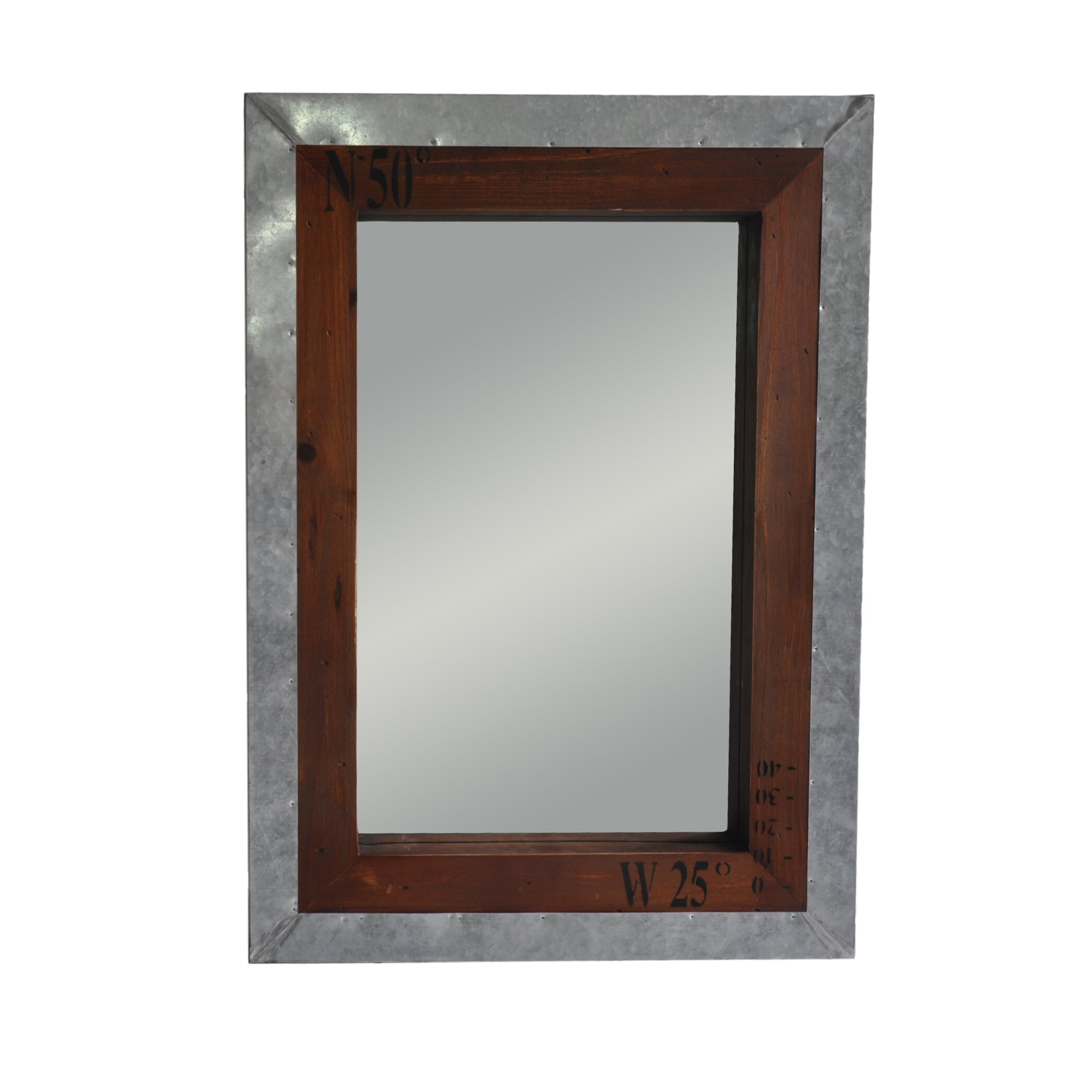 Cheungs wall mirror with metal and wood frame reviews for Metal frame mirror