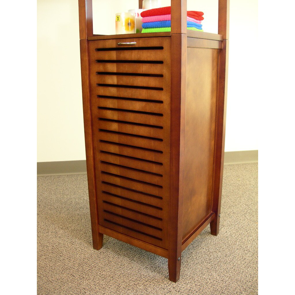 Proman 16 5 x free standing linen tower reviews wayfair - Linen cabinet with laundry hamper ...
