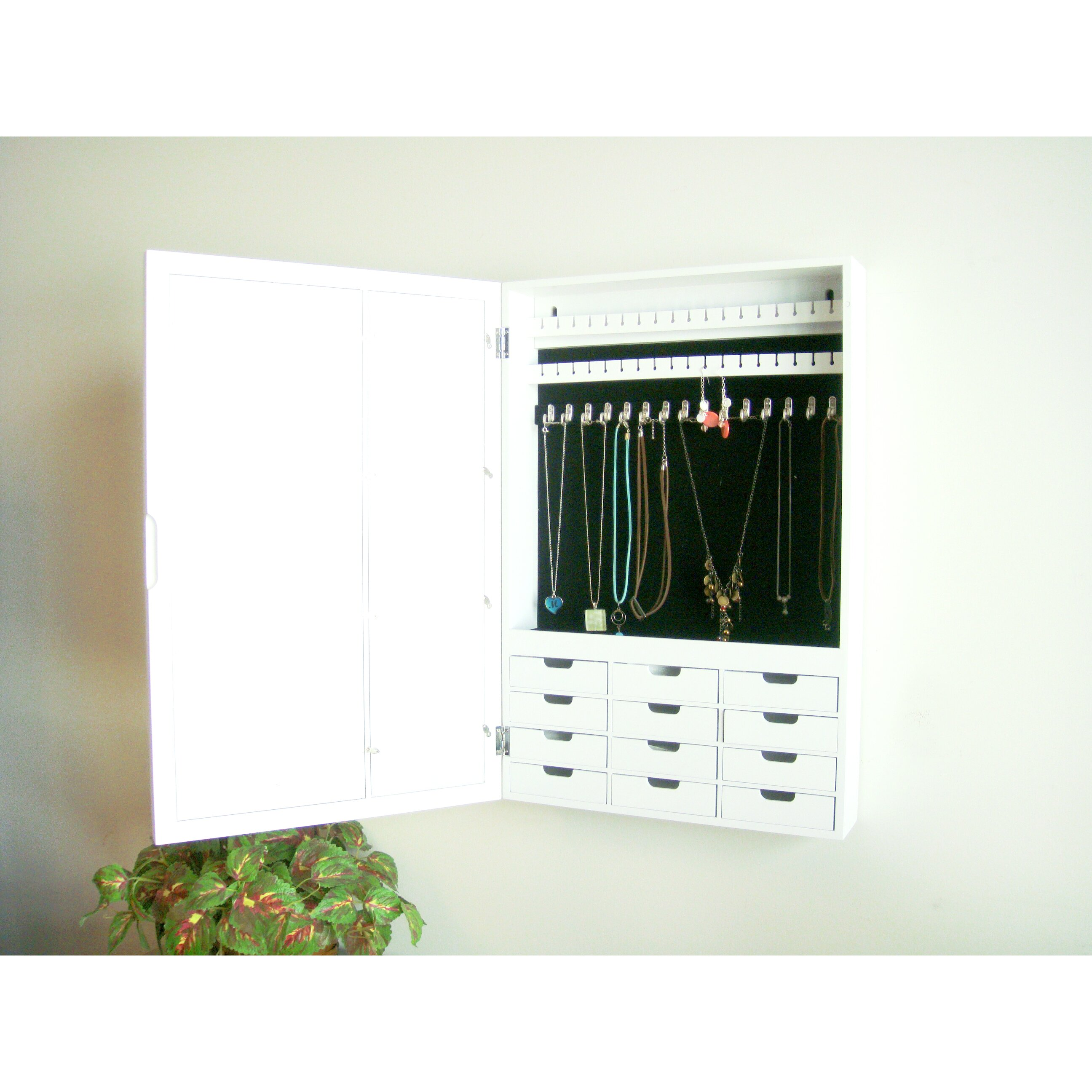 Proman Bellissimo Wall Mounted Jewelry Armoire With Mirror