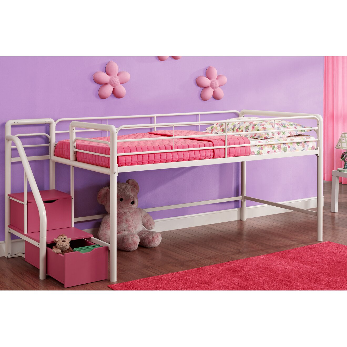 Dhp junior twin loft bed with storage reviews wayfair for Loft bed with storage