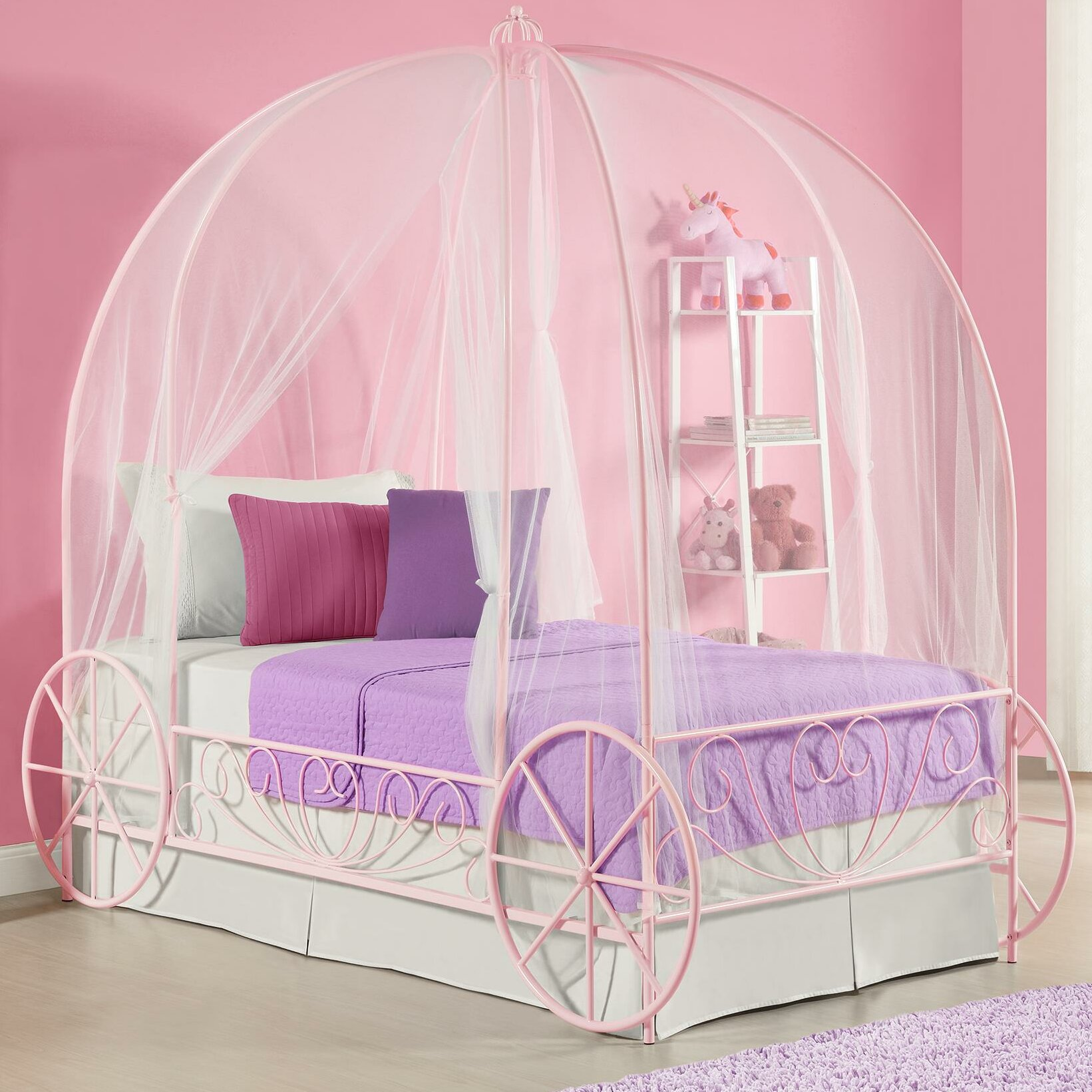 Dhp twin canopy bed reviews wayfair for Rectangle bed canopy