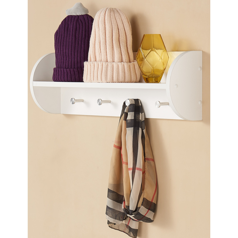 charlton home wall mounted coat rack utility shelf reviews wayfair. Black Bedroom Furniture Sets. Home Design Ideas