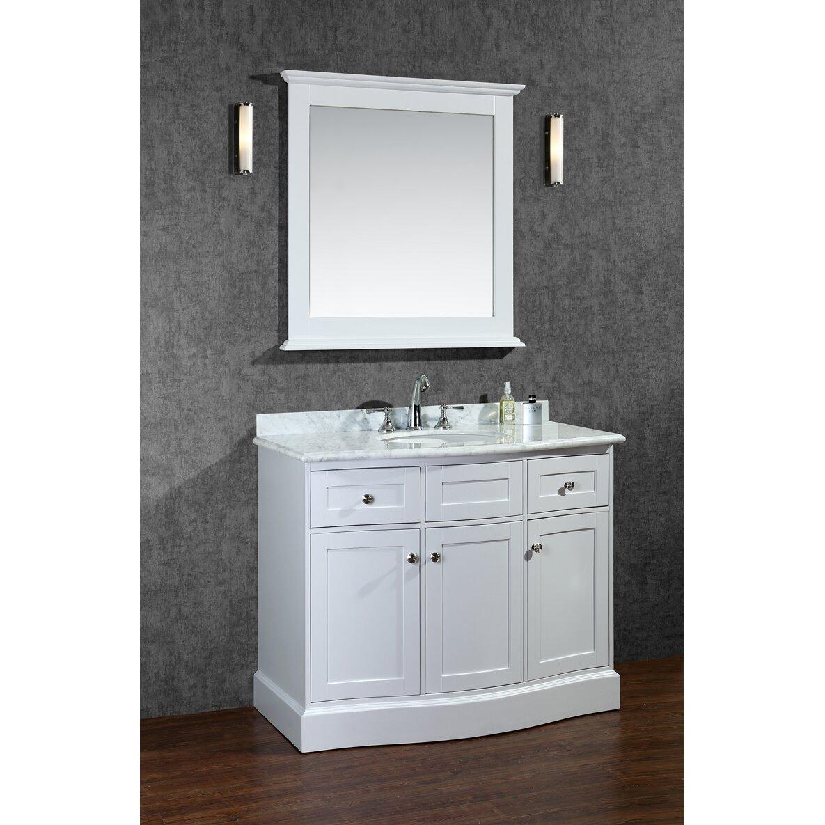 Ariel bath montauk 42 single bathroom vanity set with for Bathroom mirror set