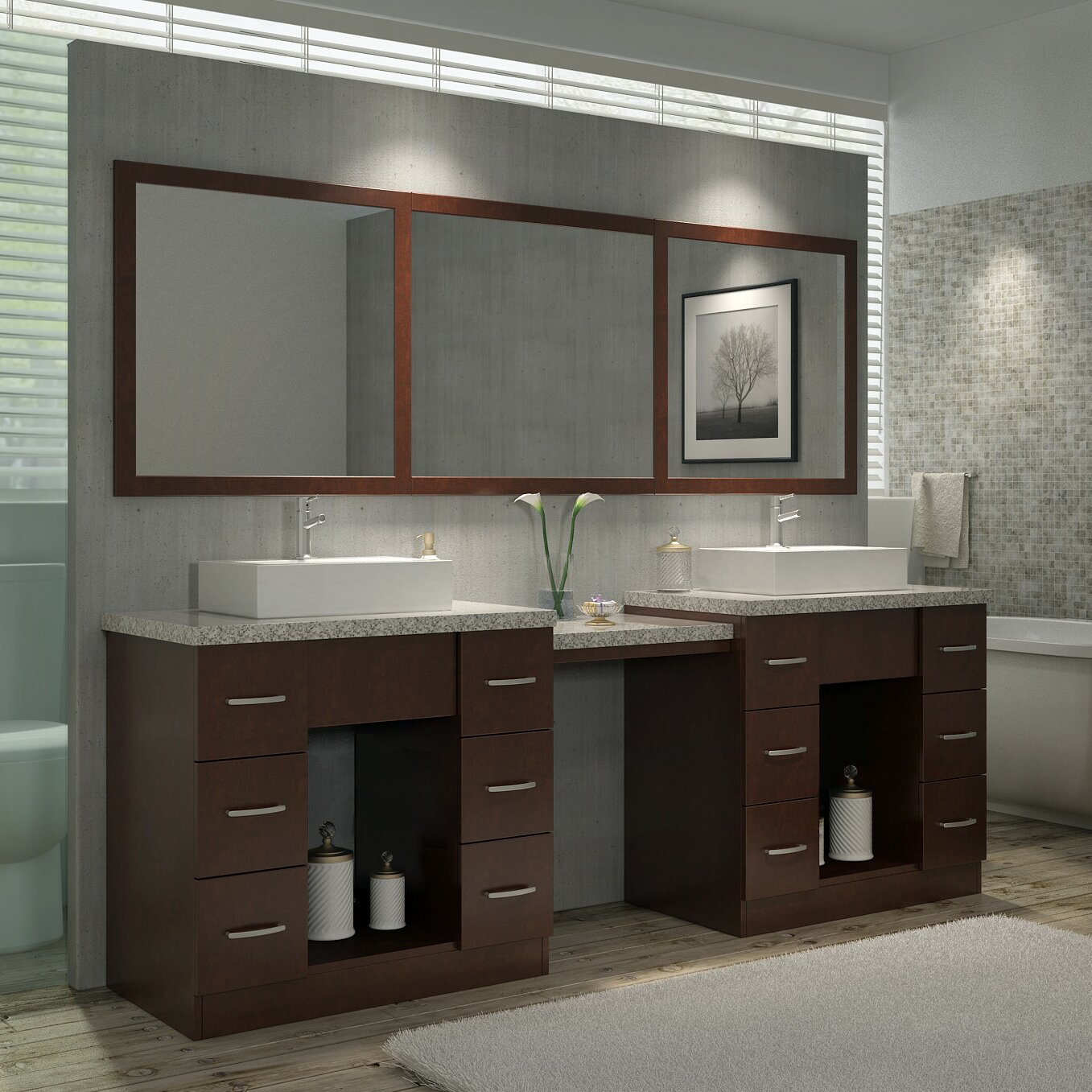 ariel bath roosevelt 97 double sink vanity set with. Black Bedroom Furniture Sets. Home Design Ideas