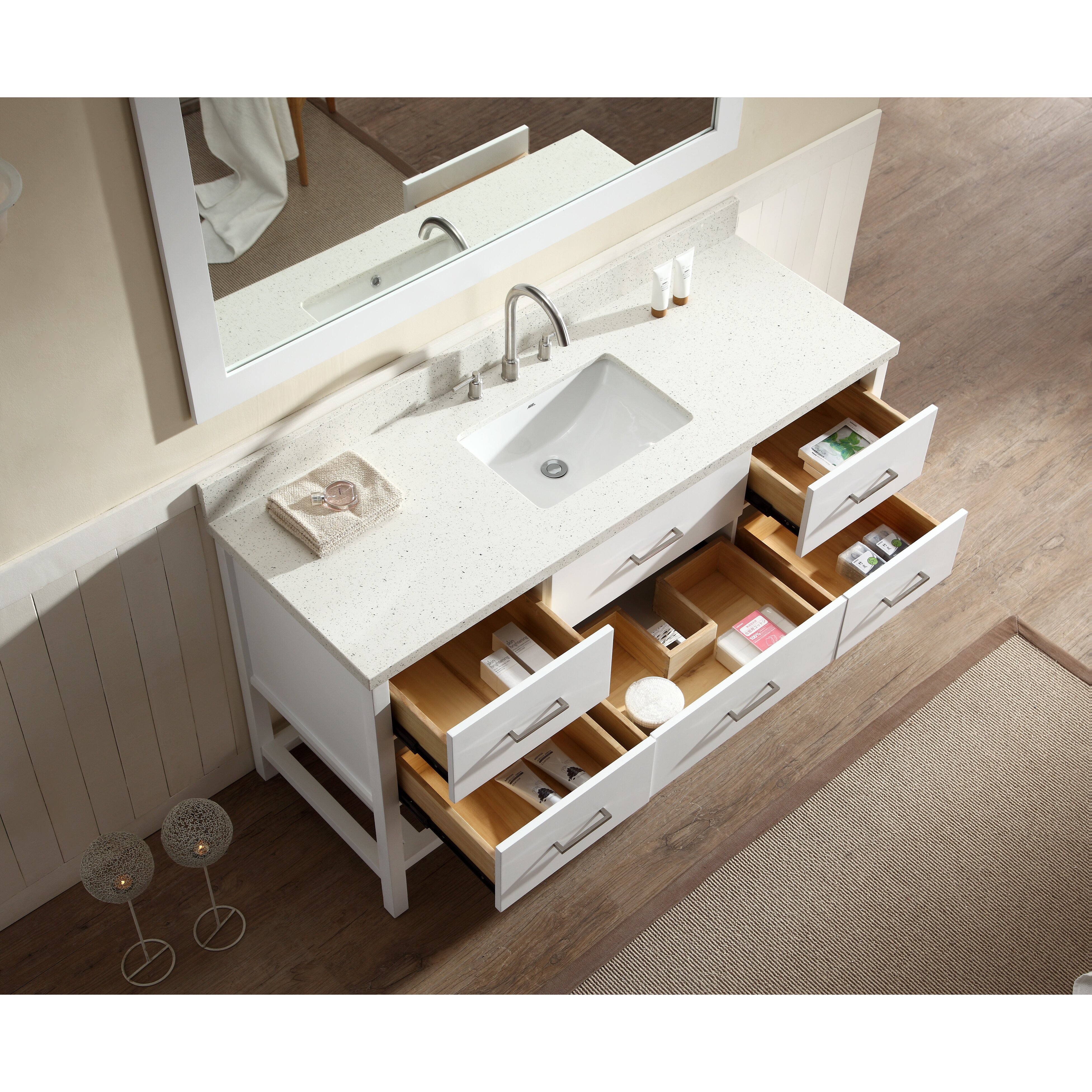 Ariel bath shakespeare 61 single sink vanity set with for Bathroom mirror set