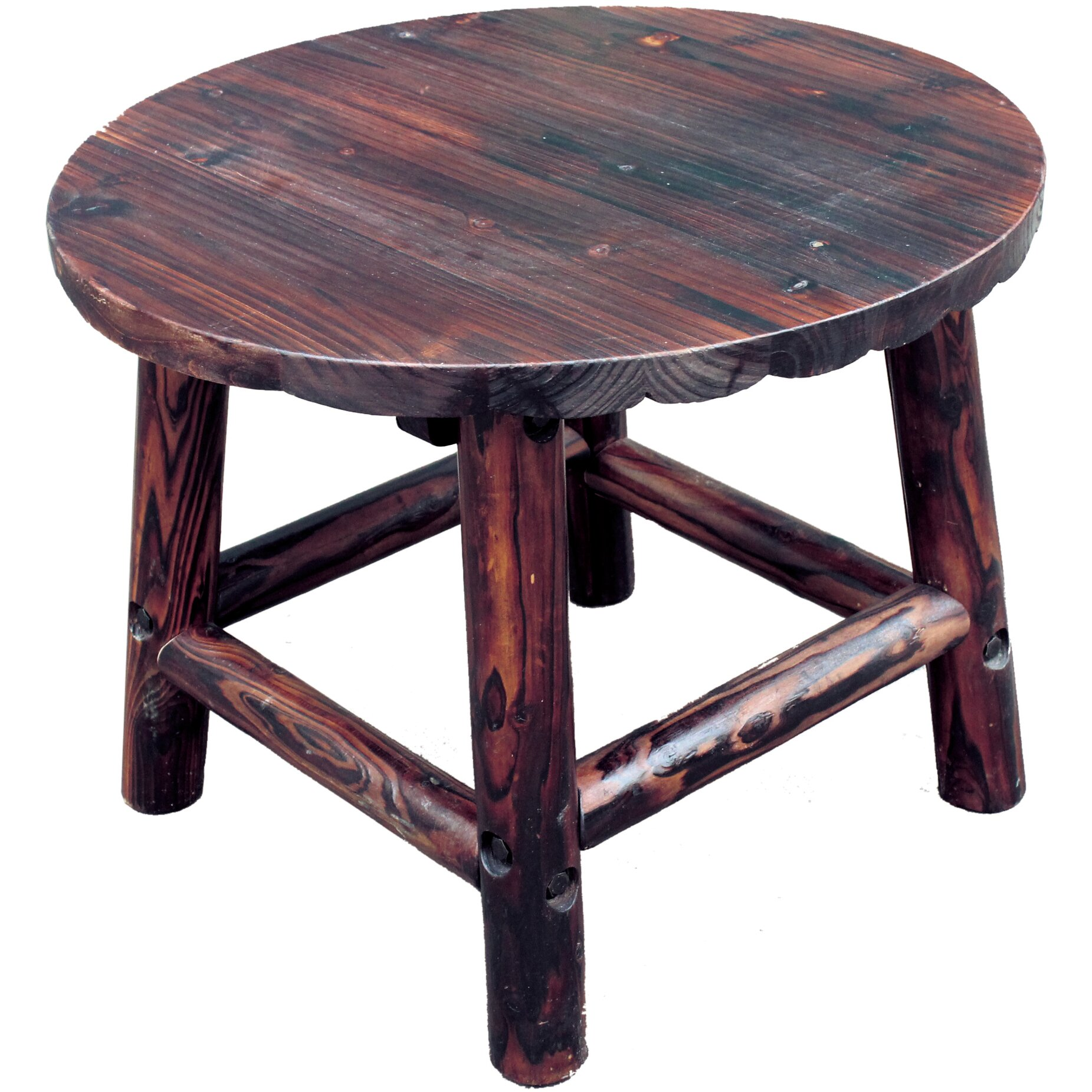 leighcountry char log round end table reviews wayfair. Black Bedroom Furniture Sets. Home Design Ideas