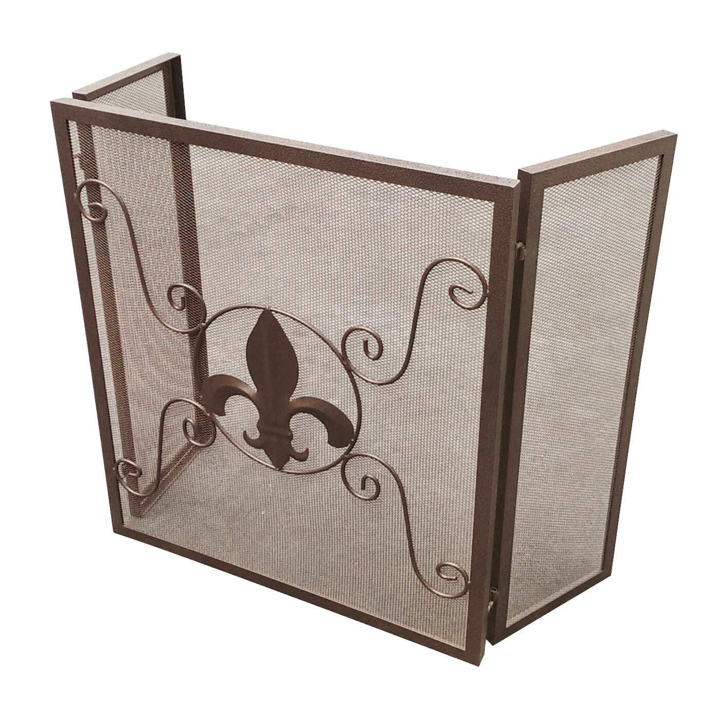 leighcountry fleur de lis 3 panel fireplace screen