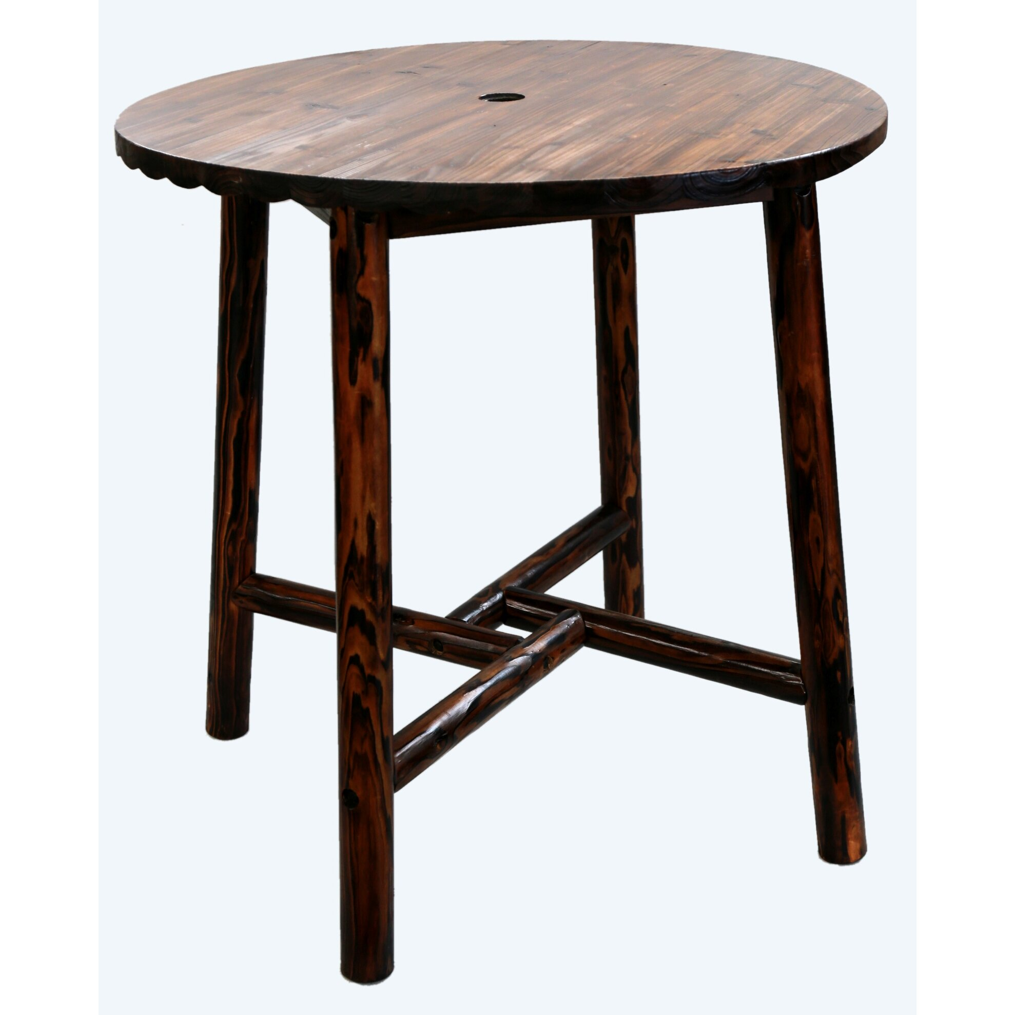 Leighcountry char log round bar table ii reviews wayfair - Table bar 2 tabourets ...