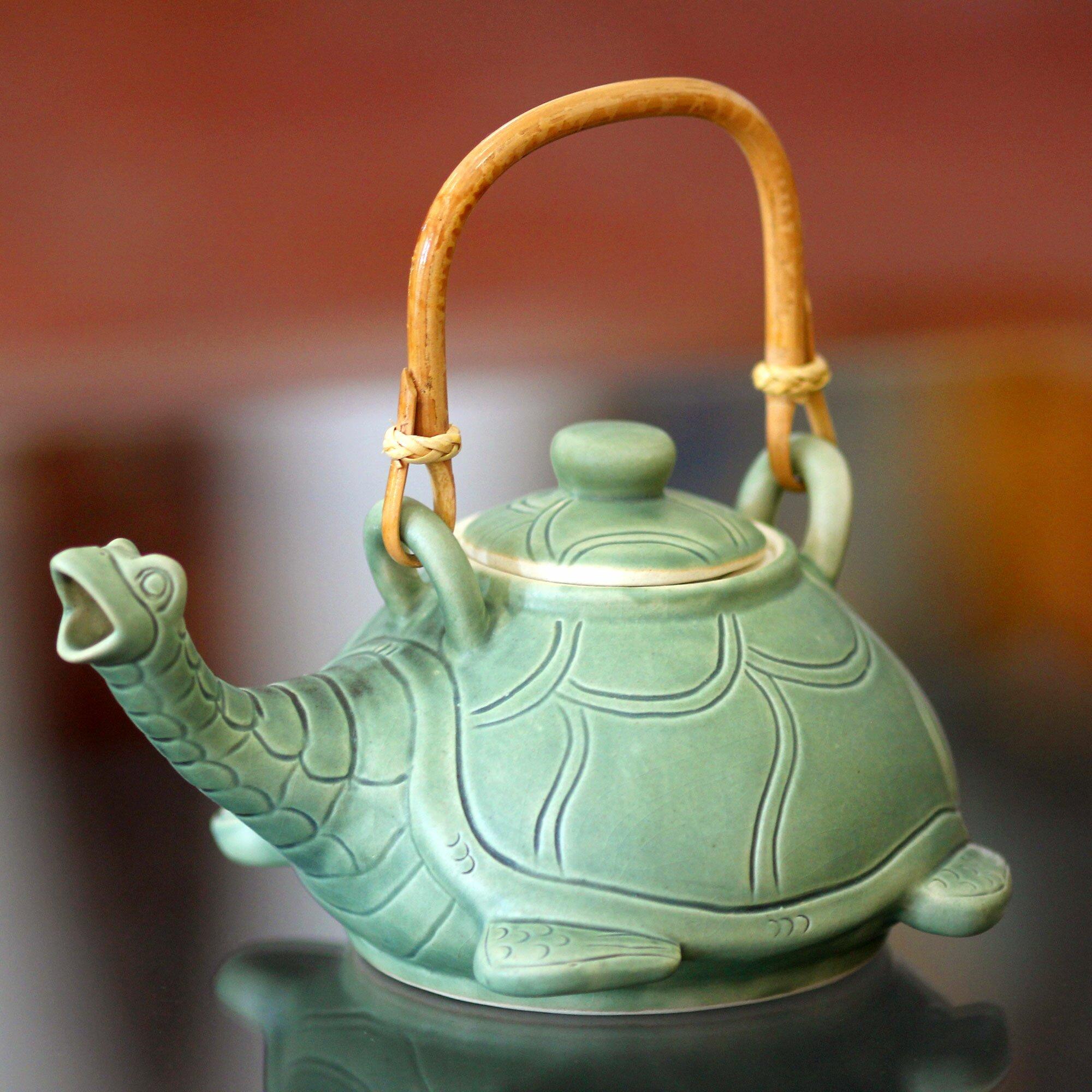 Novica Lingering Turtle Unique Ceramic Teapot Wayfair